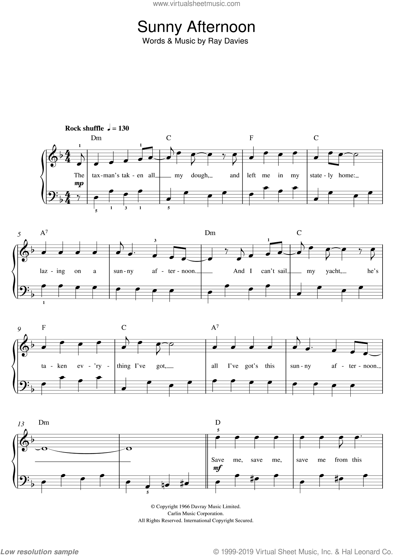 Sunny Afternoon sheet music for piano solo (beginners) by The Kinks and Ray Davies, beginner piano (beginners). Score Image Preview.