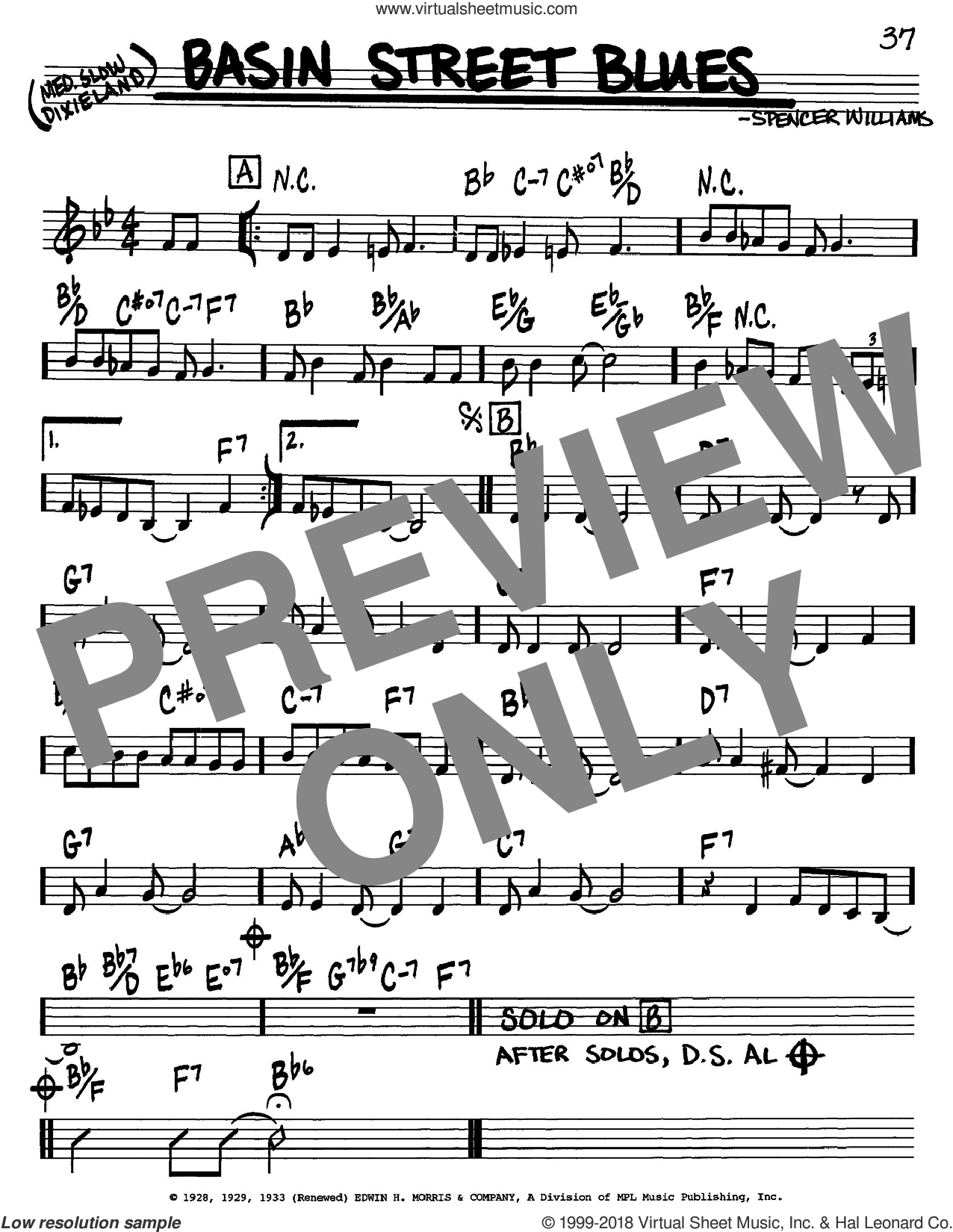 Basin Street Blues sheet music for voice and other instruments (in C) by Louis Armstrong and Spencer Williams, intermediate skill level