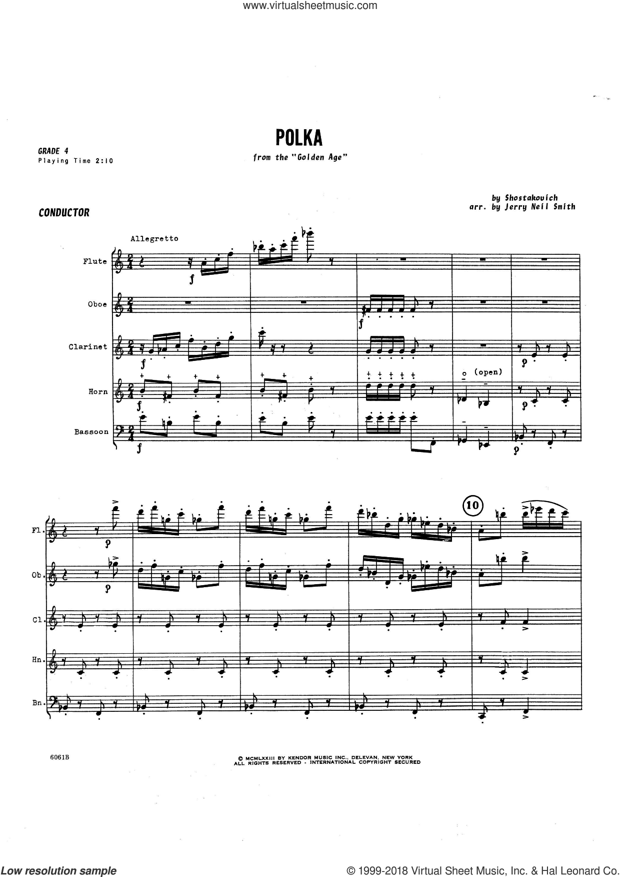 Polka (COMPLETE) sheet music for wind ensemble by Jerry Smith and Dmitri Shostakovich, intermediate skill level