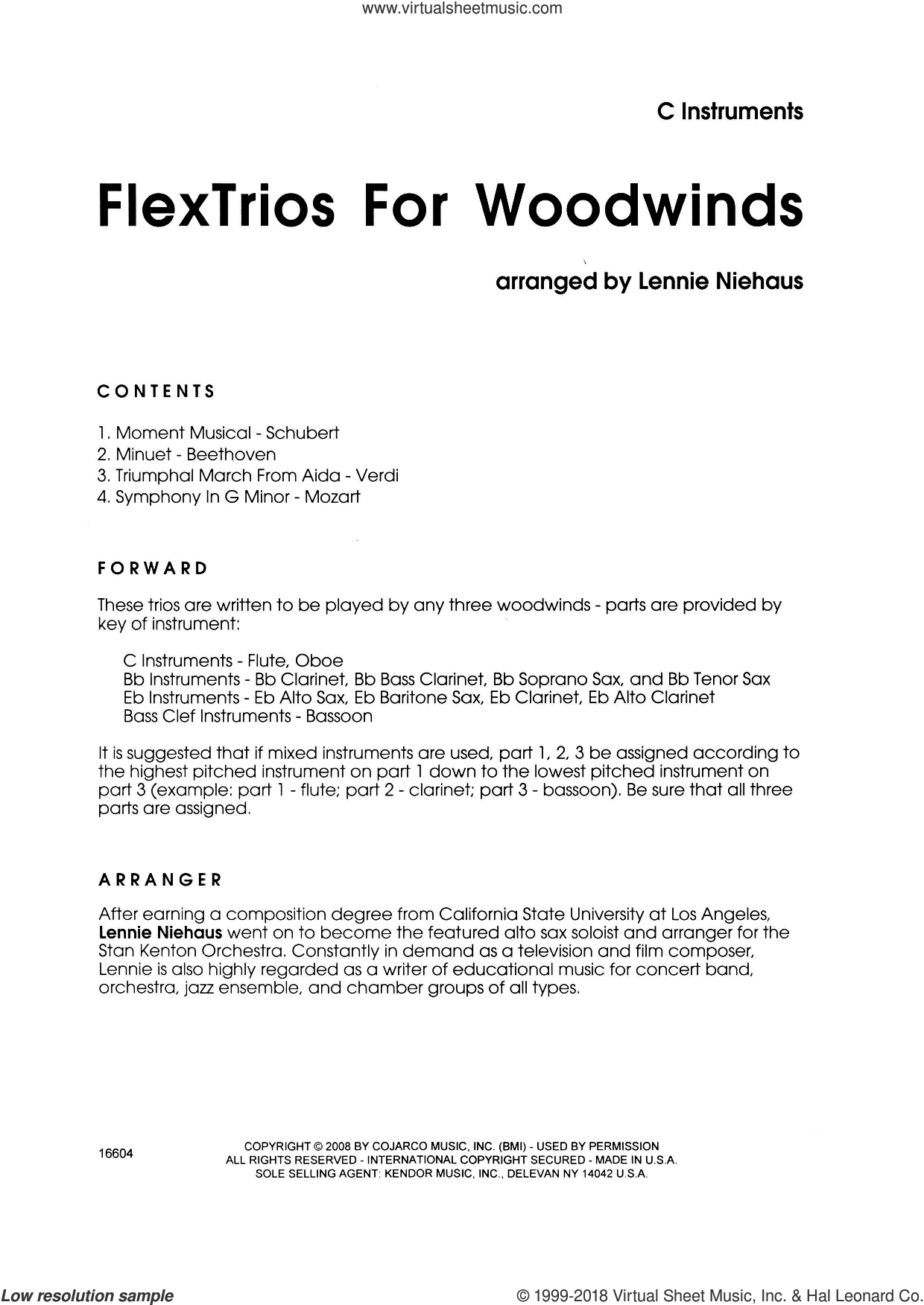 FlexTrios For Woodwinds (playable by any three woodwind instruments) (complete set of parts) sheet music for wind ensemble by Lennie Niehaus, classical score, intermediate. Score Image Preview.
