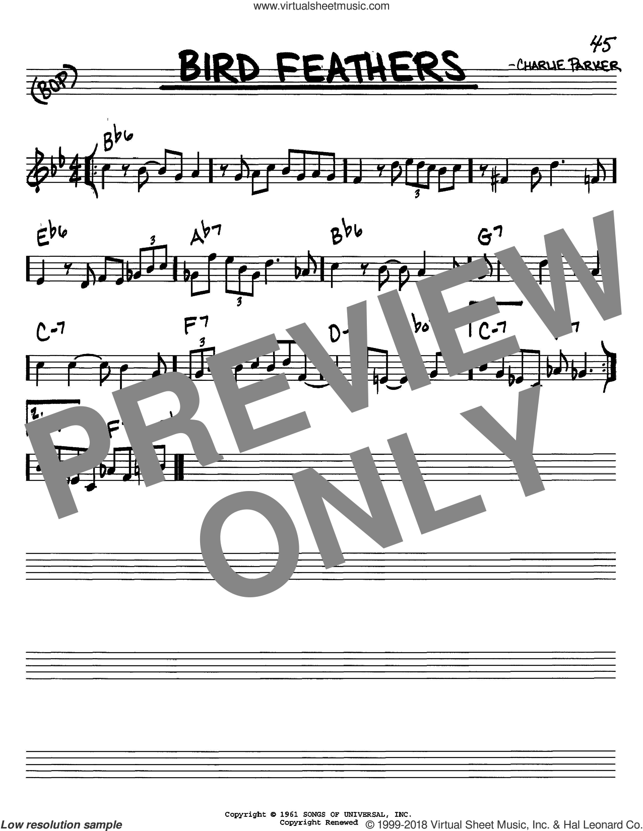 Bird Feathers sheet music for voice and other instruments (C) by Charlie Parker. Score Image Preview.