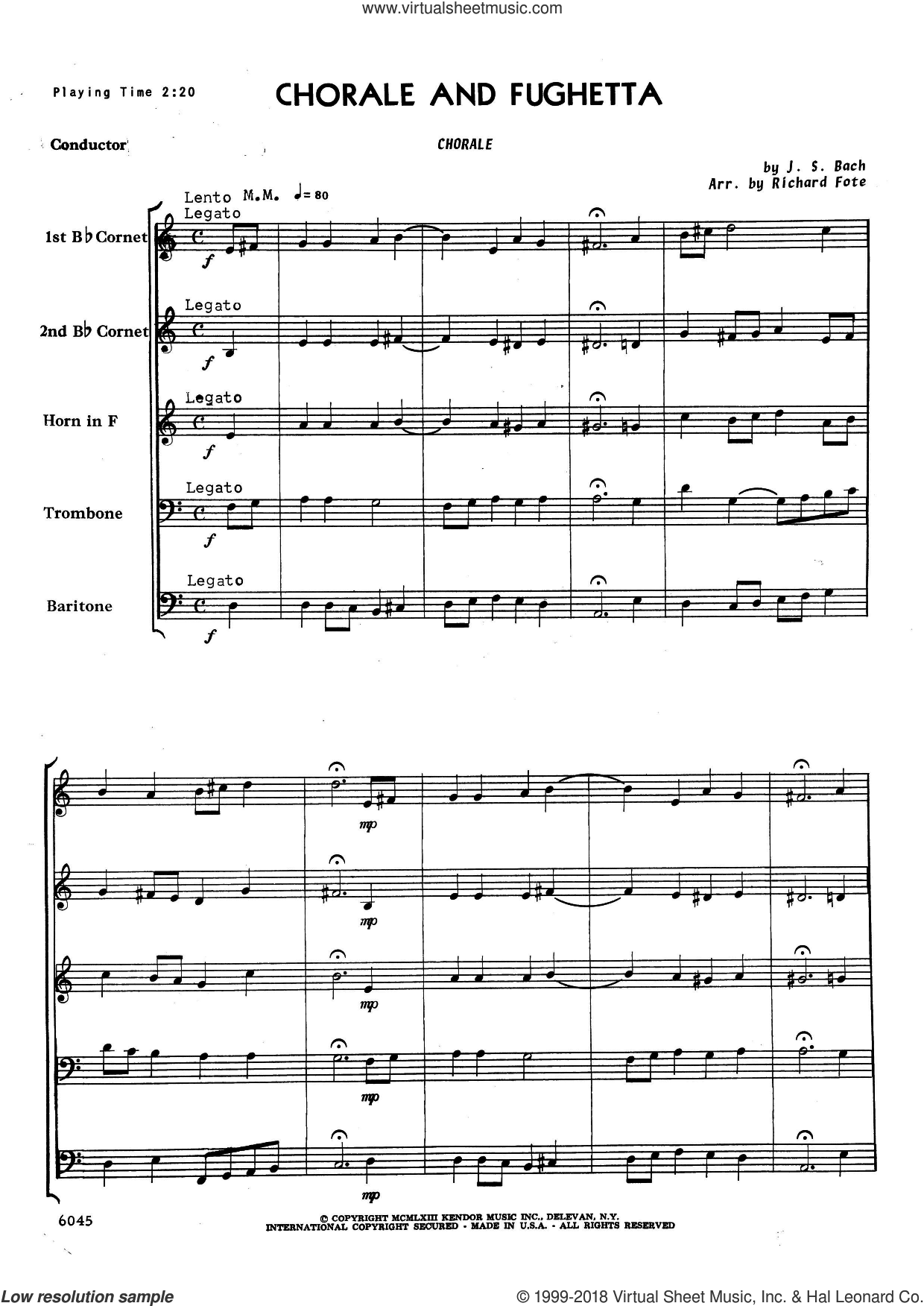 Chorale And Fughetta (COMPLETE) sheet music for brass quintet by Richard Fote and Johann Sebastian Bach, intermediate skill level