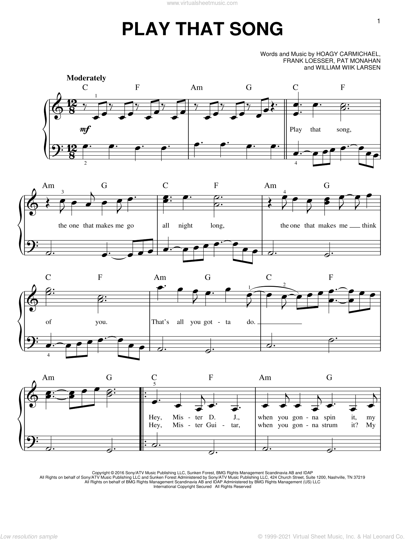 Play That Song sheet music for piano solo by Train, Frank Loesser, Hoagy Carmichael, Pat Monahan and William Larsen, easy skill level