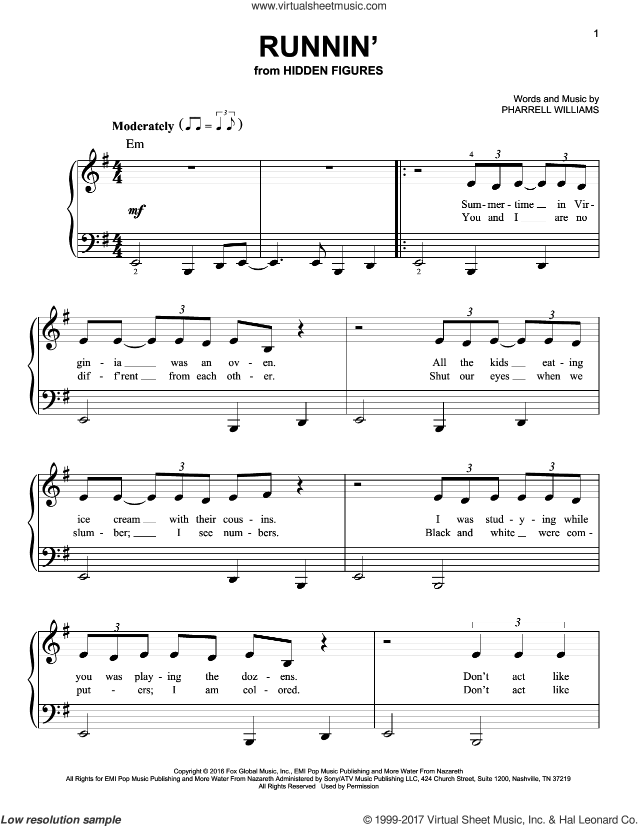 Runnin' sheet music for piano solo by Pharrell Williams. Score Image Preview.