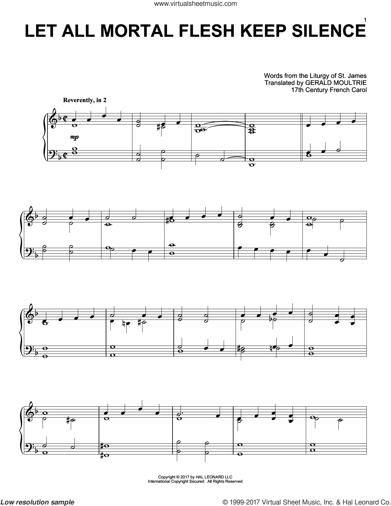 Let All Mortal Flesh Keep Silence sheet music for piano solo by Anonymous, Miscellaneous, Gerard Moultrie and Liturgy Of St. James, intermediate skill level