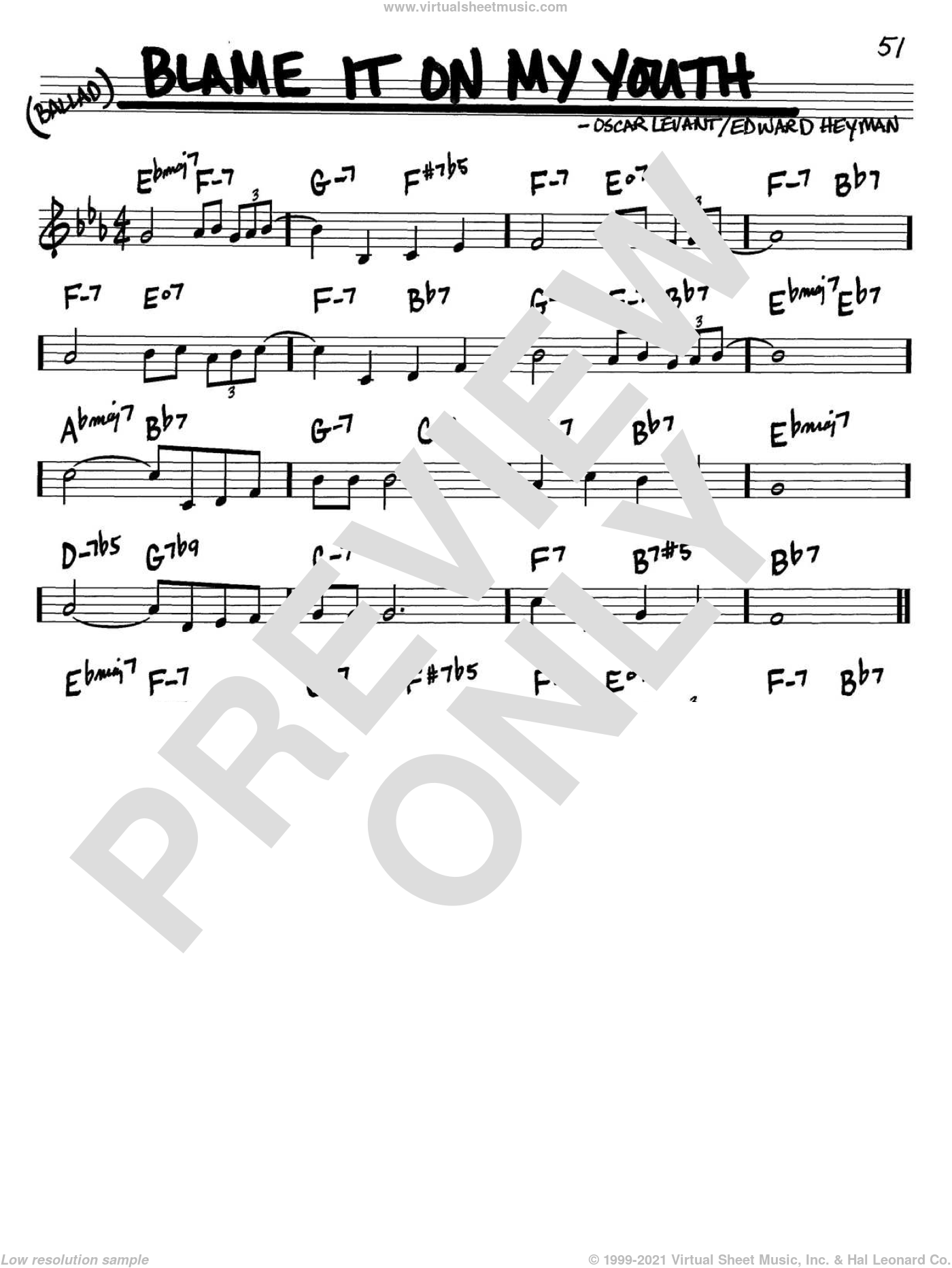 Blame It On My Youth sheet music for voice and other instruments (C) by Oscar Levant and Edward Heyman. Score Image Preview.