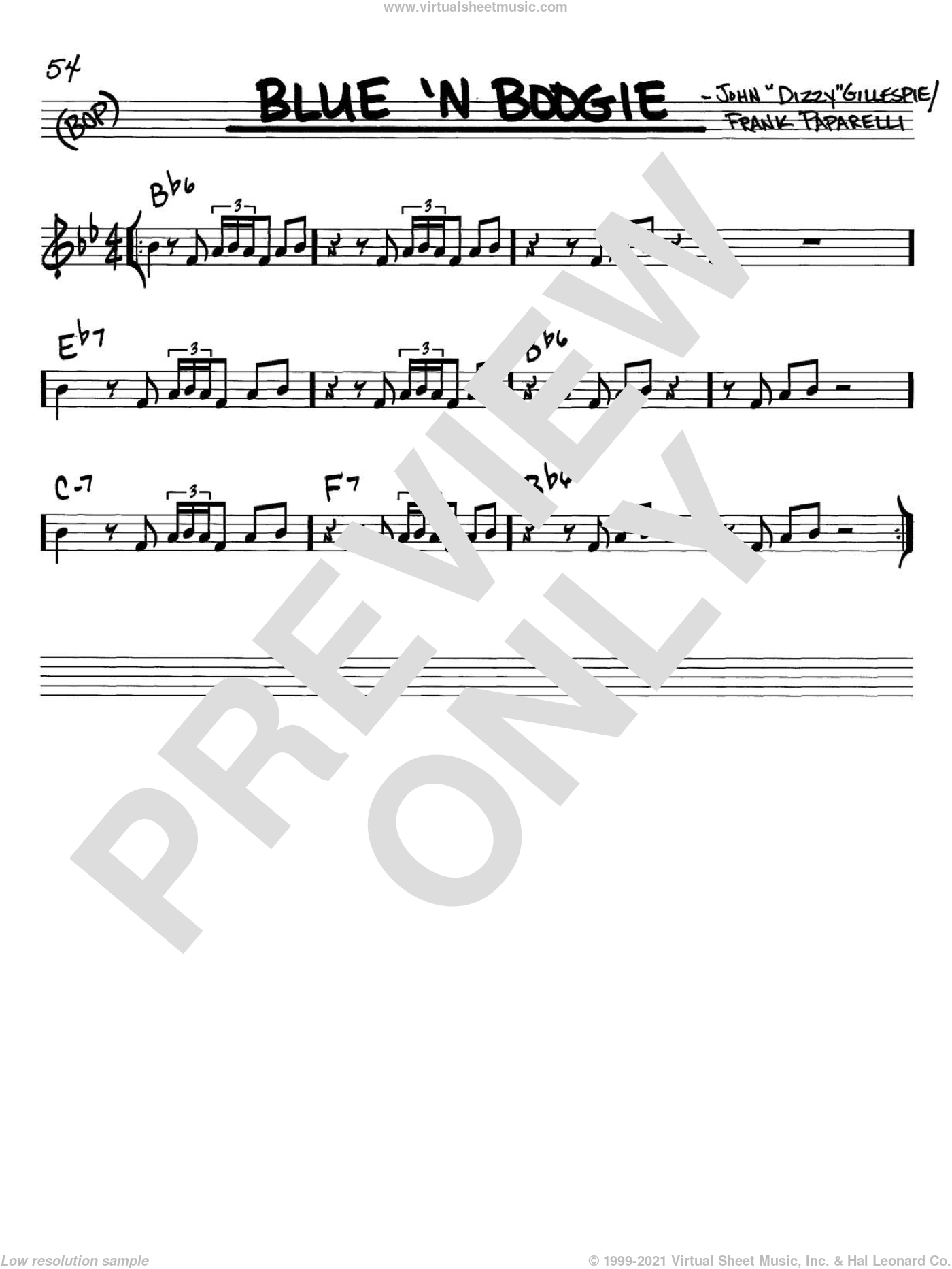 Blue 'N Boogie sheet music for voice and other instruments (in C) by Dizzy Gillespie and Frank Paparelli, intermediate skill level
