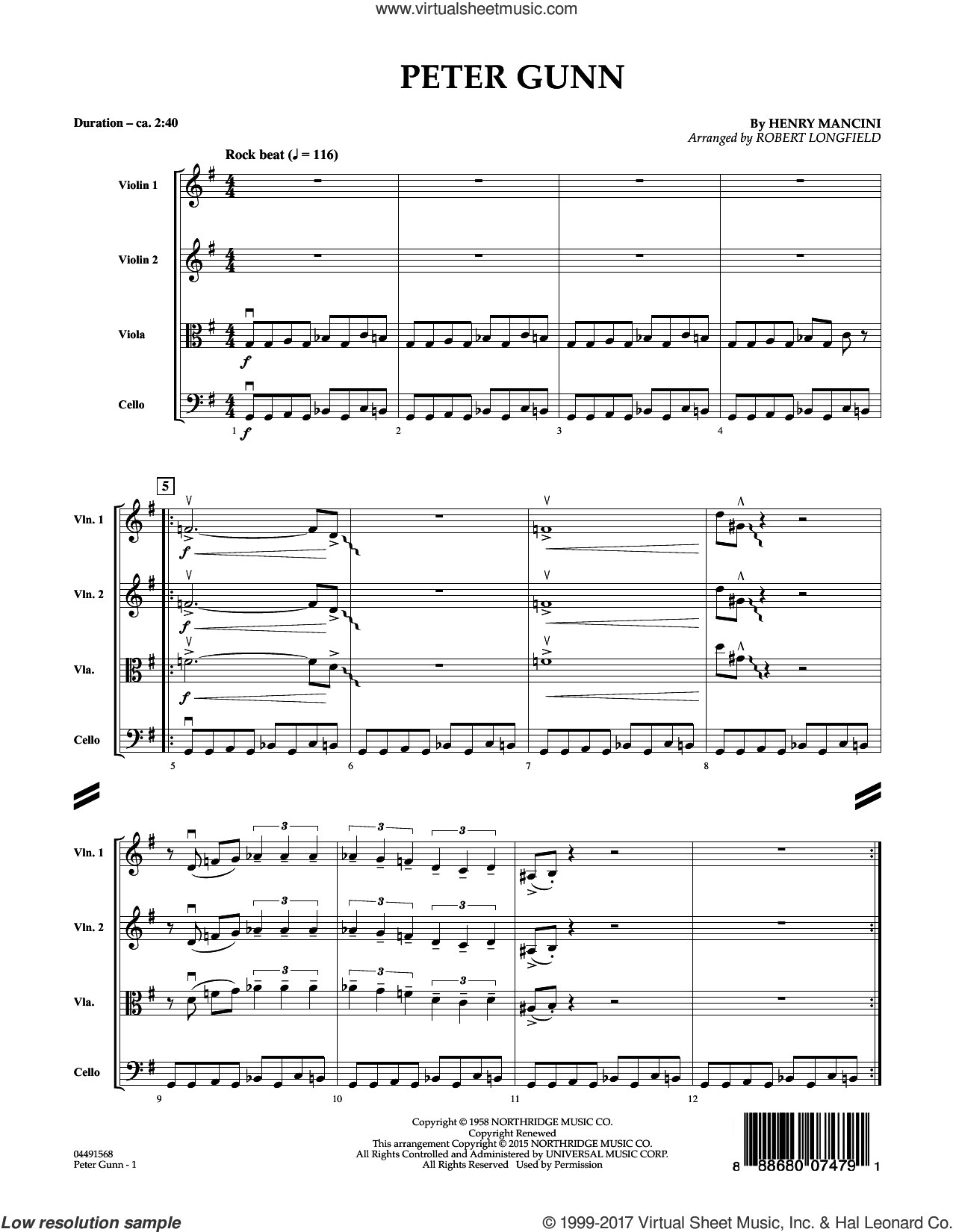 Peter Gunn, complete collection (COMPLETE) sheet music for orchestra by Henry Mancini and Robert Longfield, intermediate. Score Image Preview.