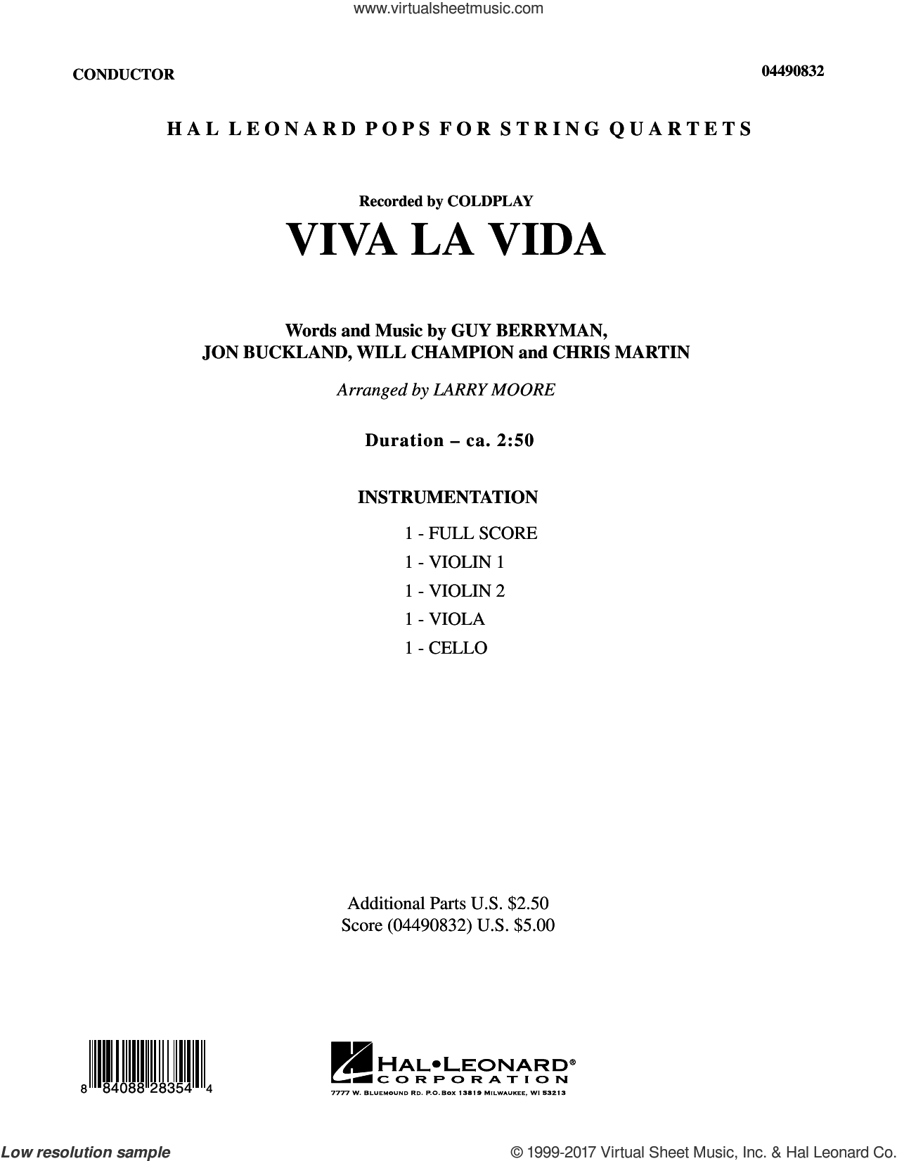 Viva La Vida (COMPLETE) sheet music for string quartet (Strings) by Coldplay, Chris Martin, Guy Berryman, Jon Buckland, Larry Moore and Will Champion, intermediate orchestra