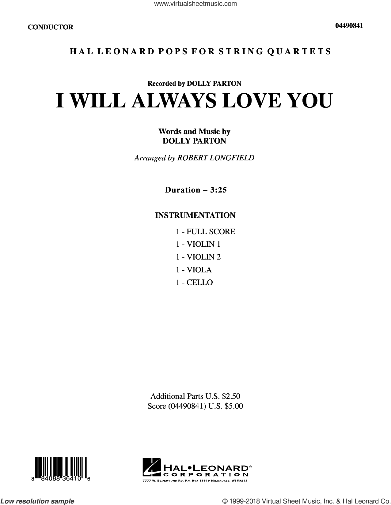 I Will Always Love You (COMPLETE) sheet music for string quartet (Strings) by Robert Longfield, Dolly Parton and Whitney Houston, intermediate orchestra