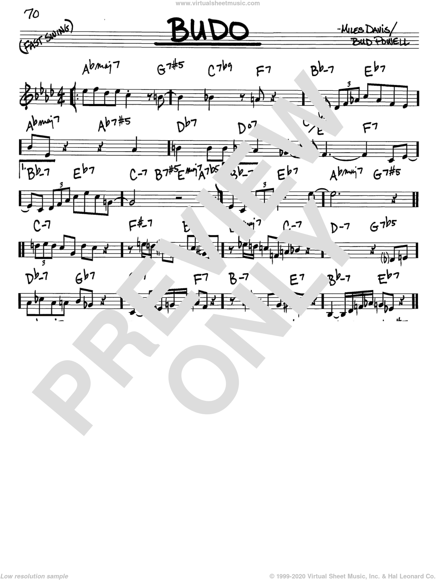 Budo sheet music for voice and other instruments (in C) by Miles Davis and Bud Powell, intermediate skill level