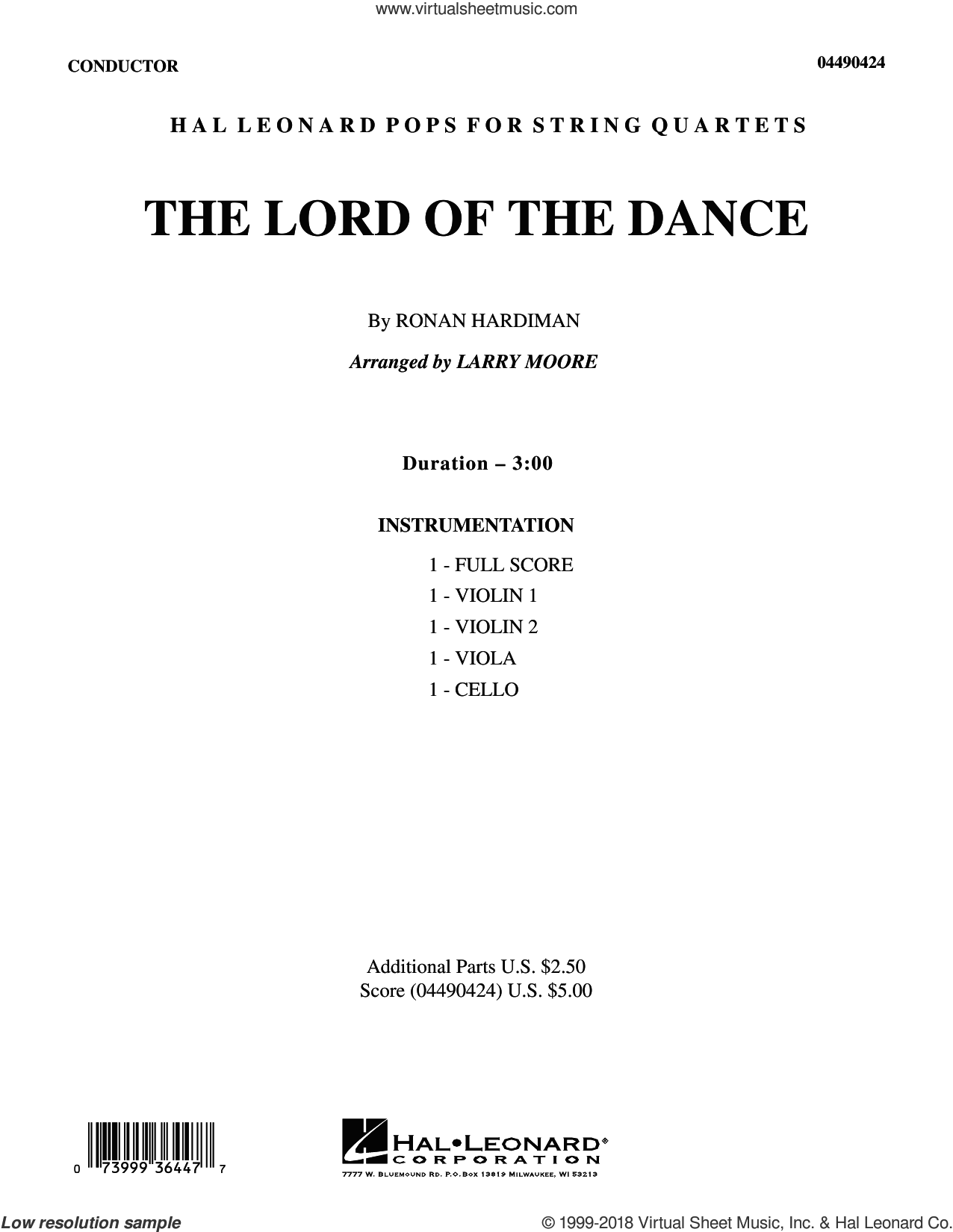 The Lord of the Dance (COMPLETE) sheet music for string quartet (Strings) by Ronan Hardiman, intermediate orchestra