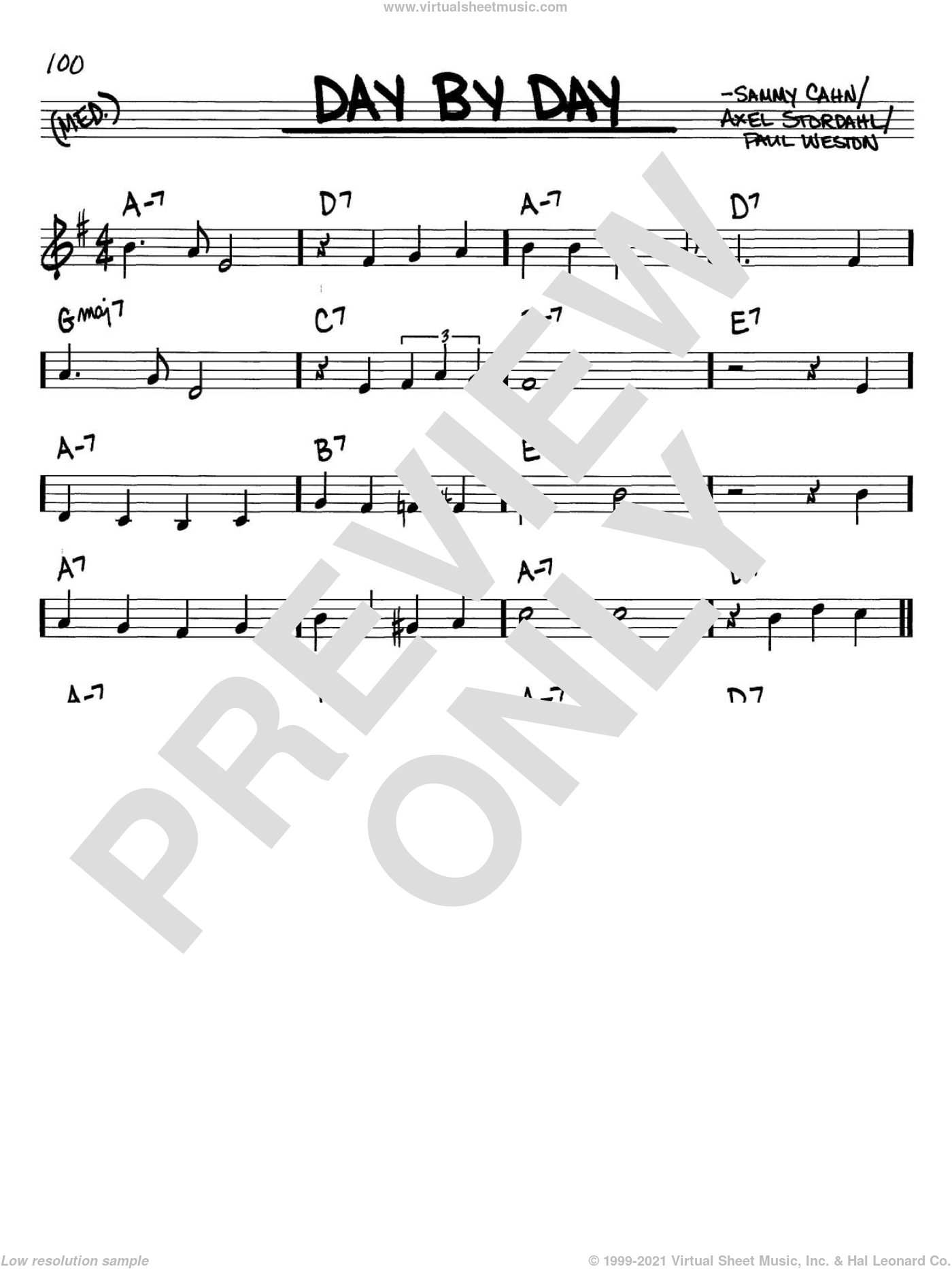 Day By Day sheet music for voice and other instruments (C) by Sammy Cahn, Axel Stordahl and Paul Weston. Score Image Preview.