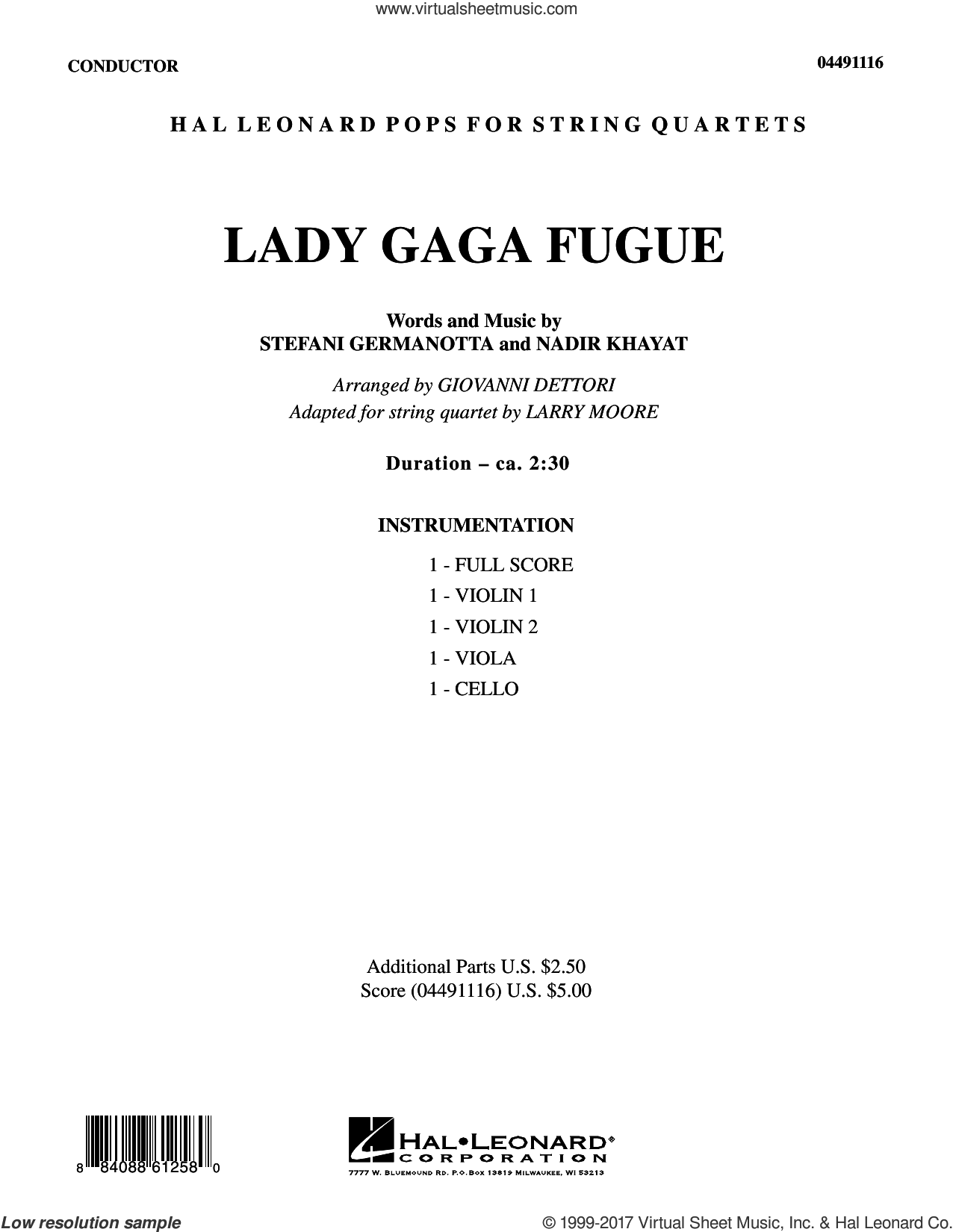 Lady Gaga Fugue (COMPLETE) sheet music for string quartet (Strings) by Lady Gaga, Larry Moore and Nadir Khayat, intermediate orchestra