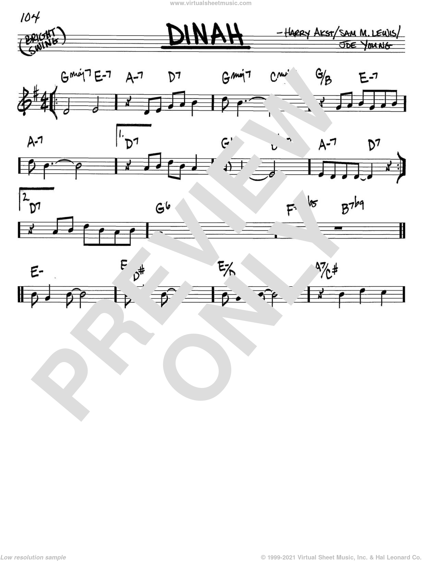 Dinah sheet music for voice and other instruments (C) by Sam Lewis, Harry Akst and Joe Young. Score Image Preview.