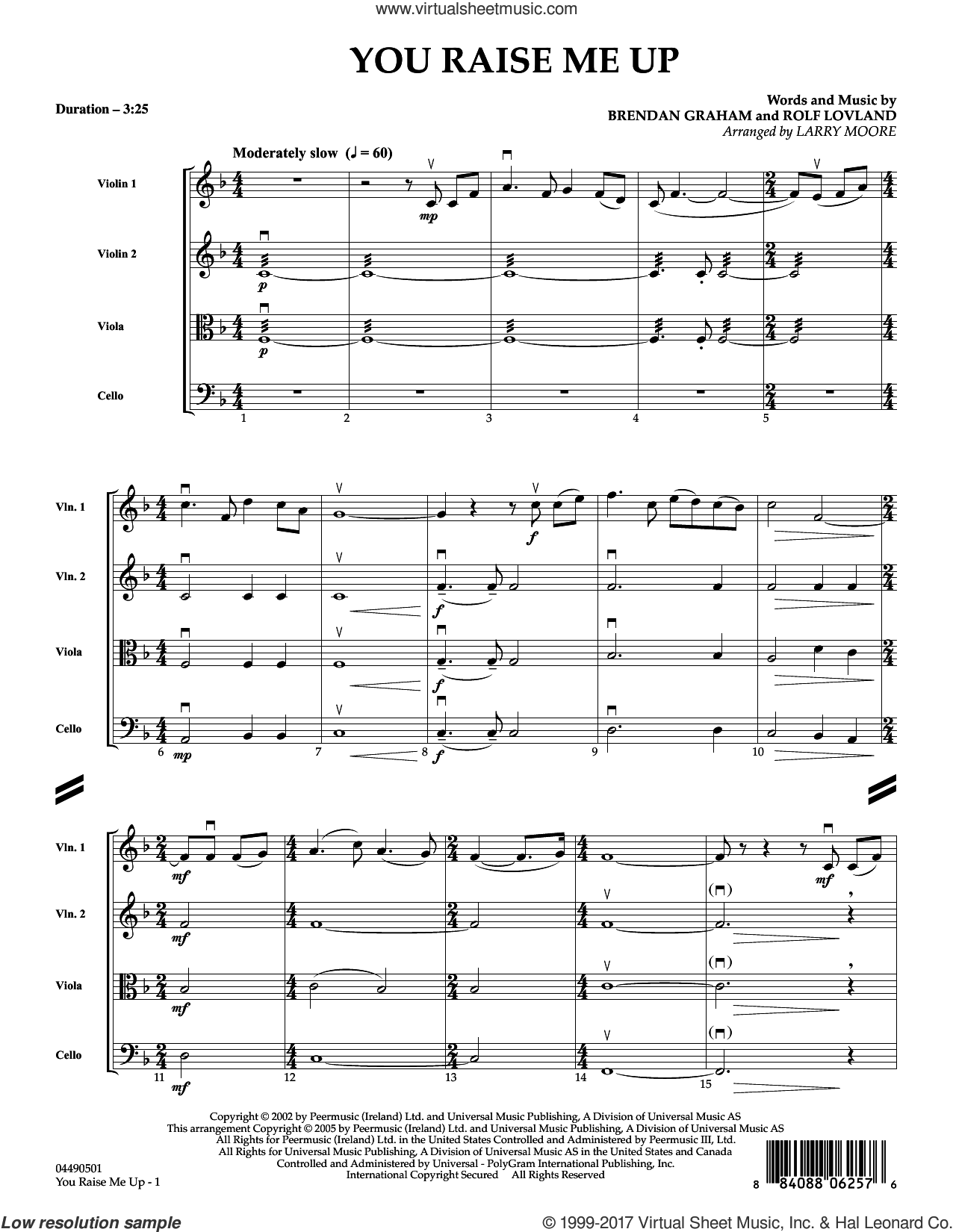 You Raise Me Up (COMPLETE) sheet music for string quartet (Strings) by Josh Groban, Brendan Graham, Larry Moore, Rolf Løvland, Secret Garden and Rolf Lovland, intermediate orchestra