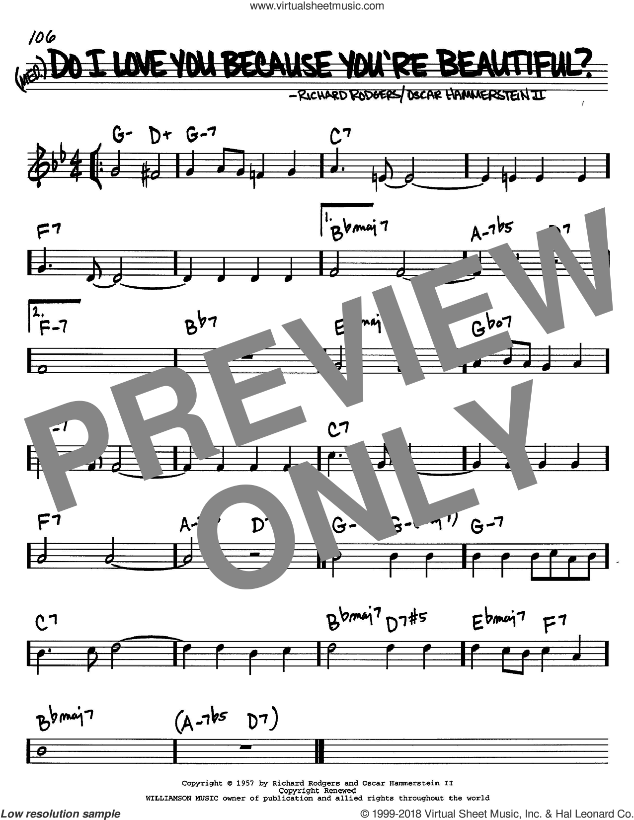 Do I Love You Because You're Beautiful? sheet music for voice and other instruments (C) by Richard Rodgers