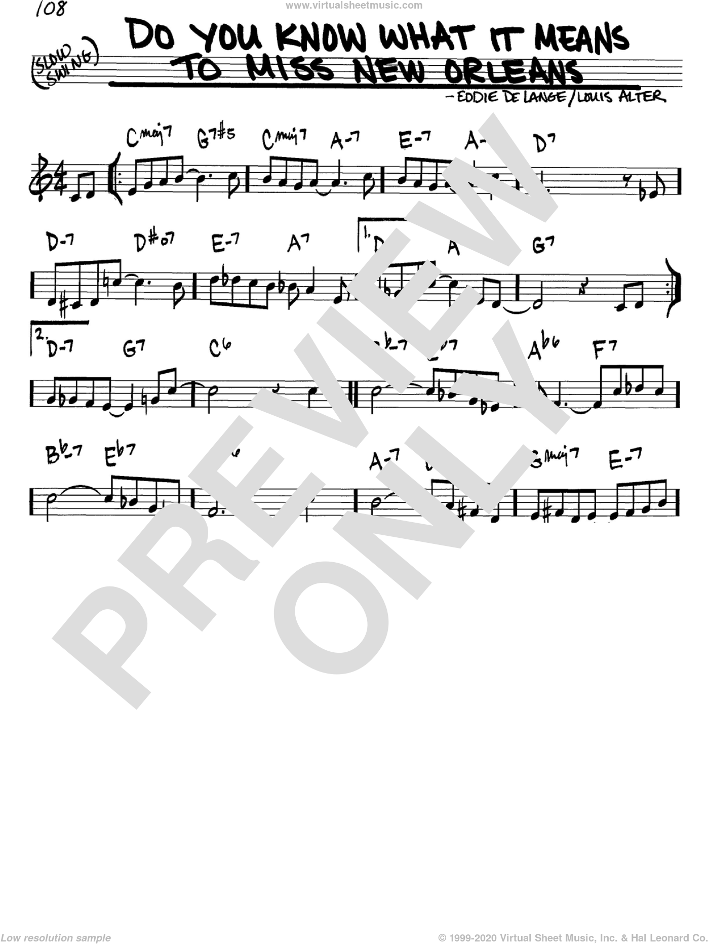 Do You Know What It Means To Miss New Orleans sheet music for voice and other instruments (in C) by Louis Armstrong, Eddie DeLange and Louis Alter, intermediate skill level