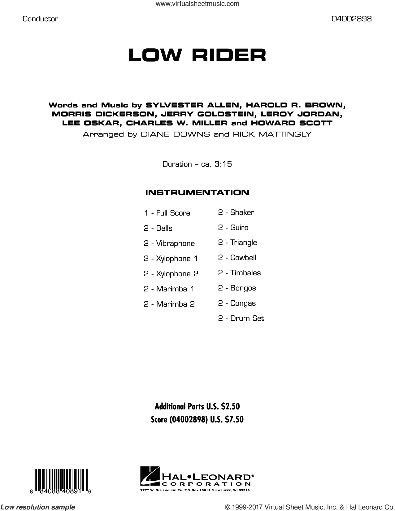 Low Rider (COMPLETE) sheet music for concert band by War, Diane Downs and Rick Mattingly, intermediate skill level