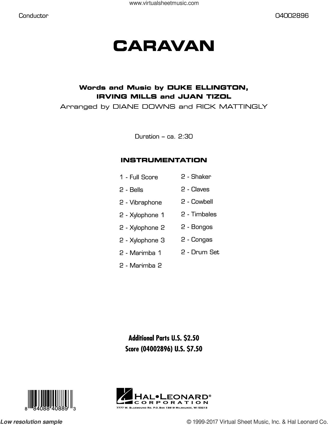 Caravan (COMPLETE) sheet music for concert band by Duke Ellington, Diane Downs, Irving Mills, Juan Tizol and Rick Mattingly, intermediate skill level