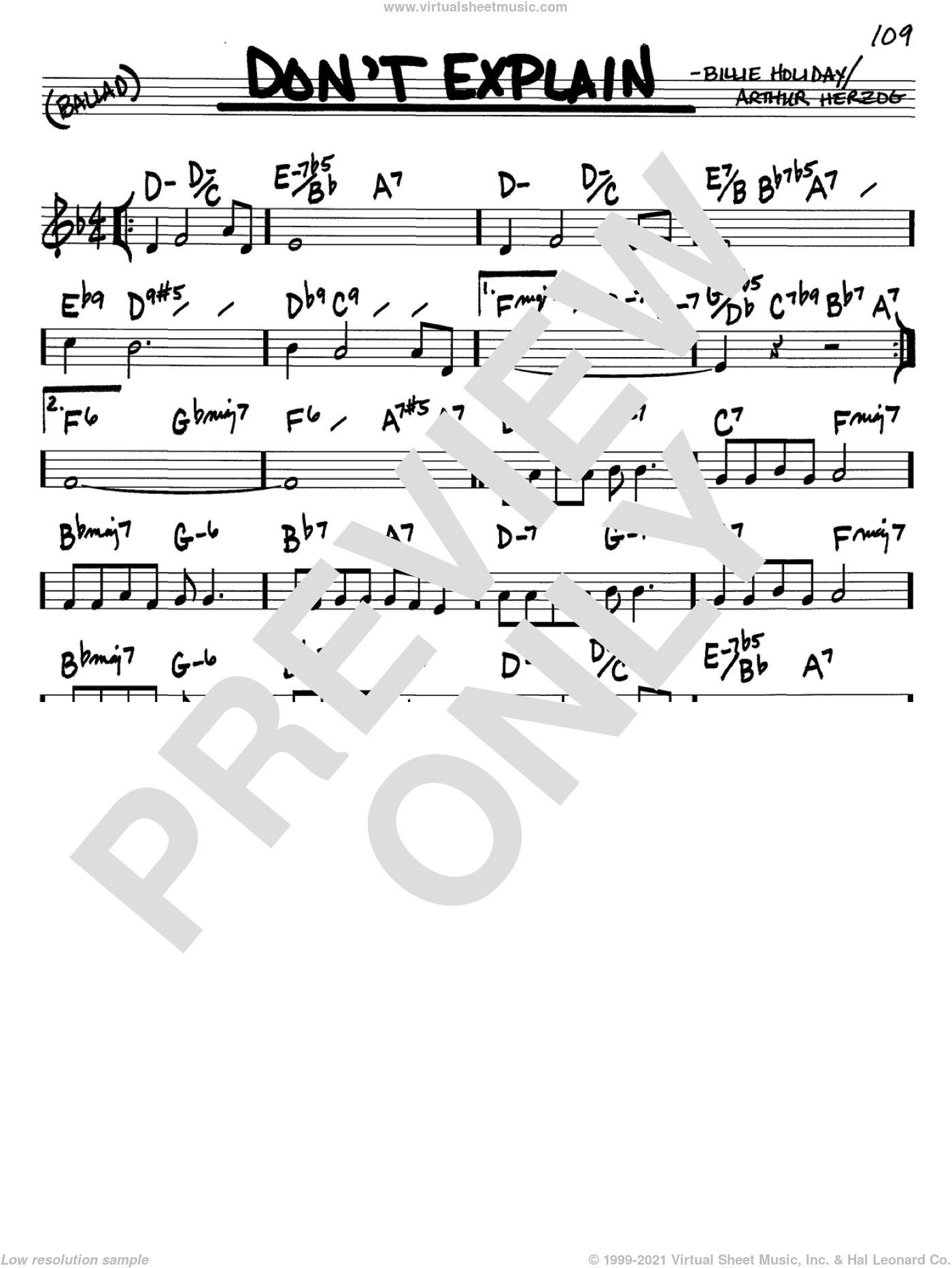 Don't Explain sheet music for voice and other instruments (C) by Arthur Herzog Jr. and Billie Holiday. Score Image Preview.