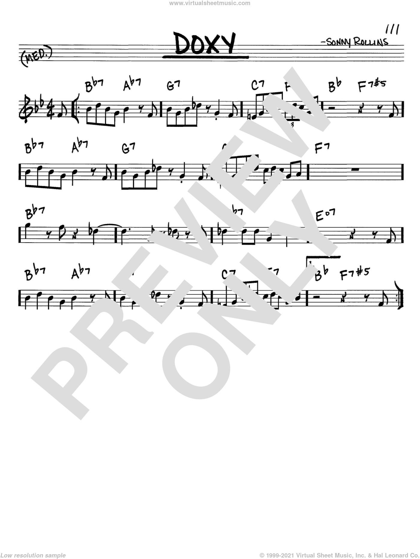 Rollins - Doxy sheet music (real book - melody and chords) (in C)