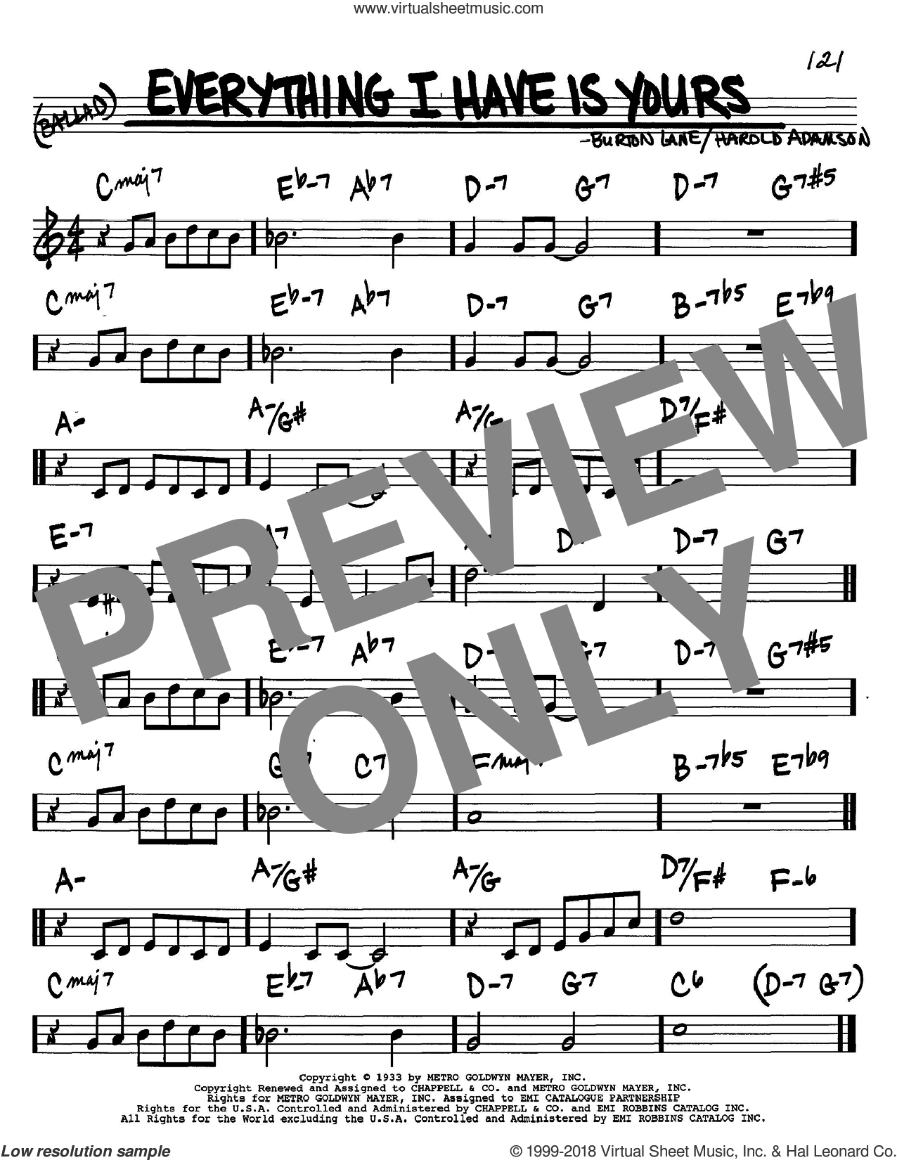 Everything I Have Is Yours sheet music for voice and other instruments (in C) by Harold Adamson and Burton Lane, intermediate skill level
