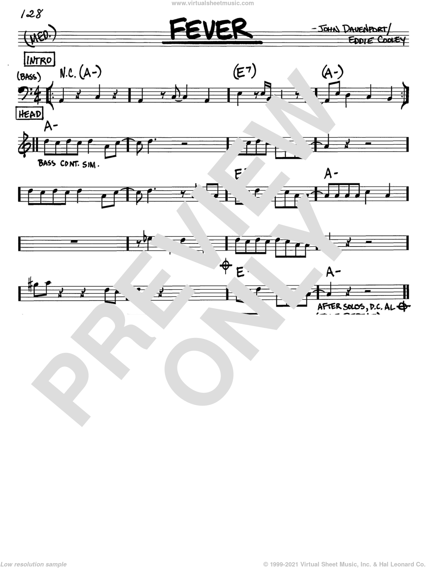 Fever sheet music for voice and other instruments (C) by John Davenport
