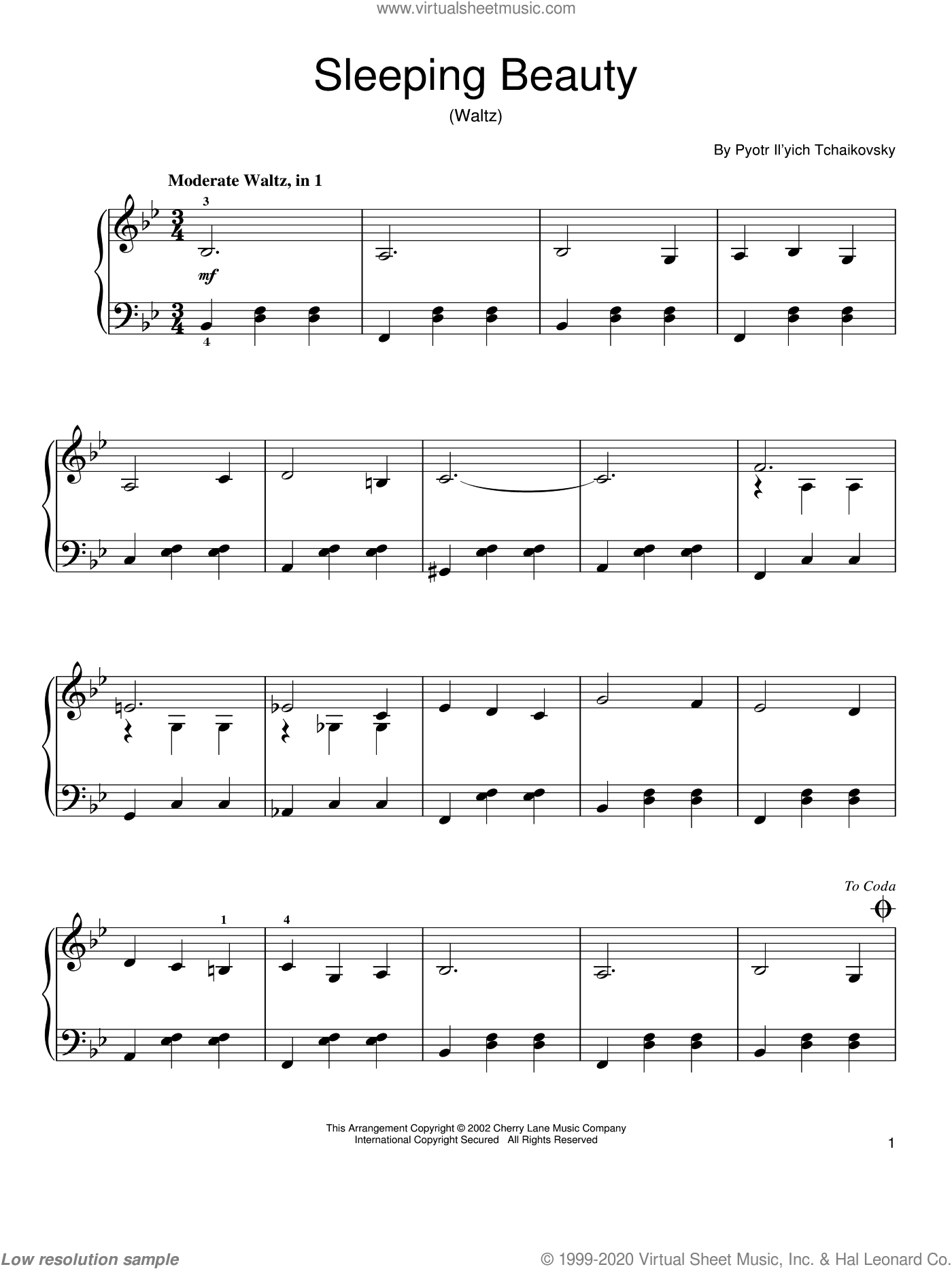 The Sleeping Beauty Waltz sheet music for piano solo by Pyotr Ilyich Tchaikovsky, classical score, easy skill level