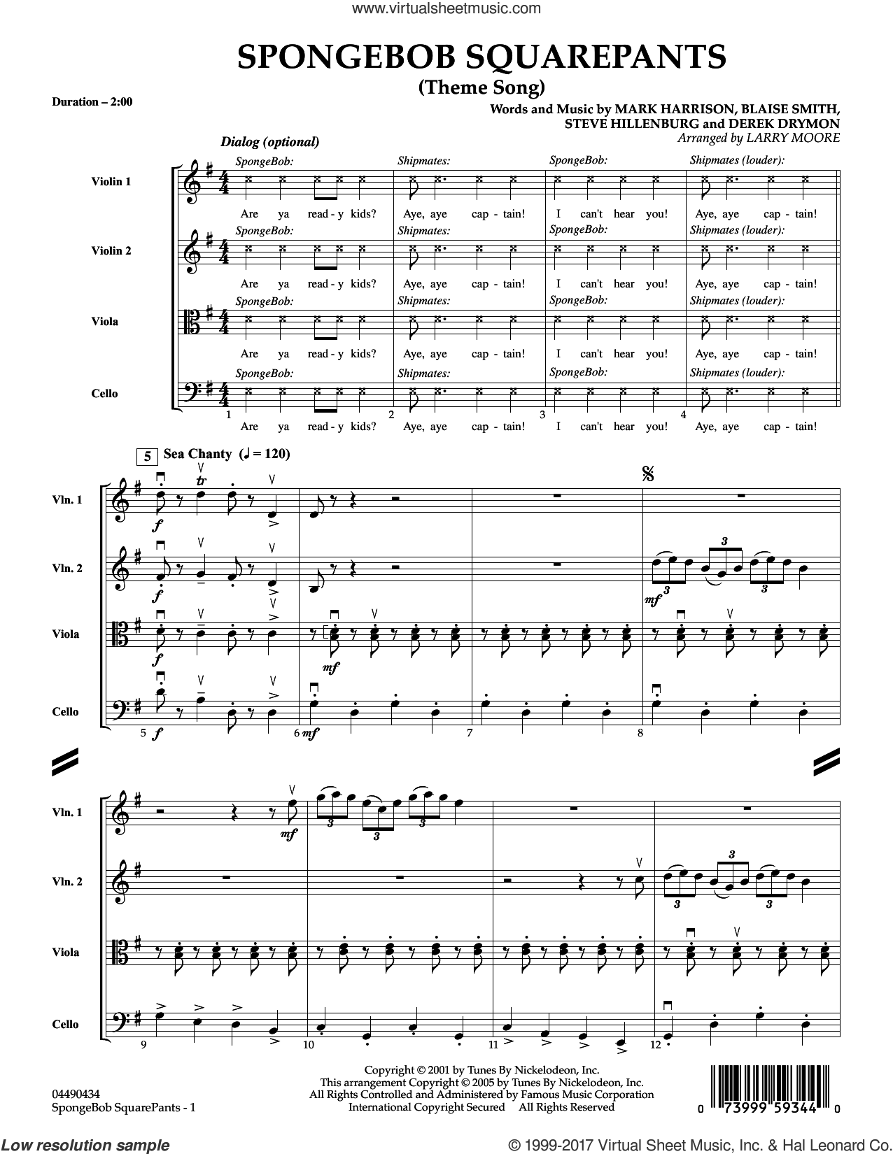 SpongeBob SquarePants (Theme Song) (COMPLETE) sheet music for orchestra (Strings) by Larry Moore, Blaise Smith, Mark Harrison and Steve Hillenburg, intermediate orchestra. Score Image Preview.
