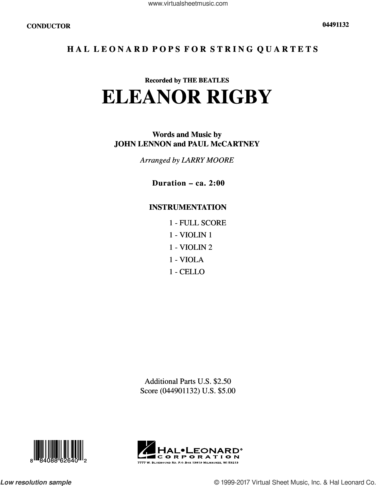 Eleanor Rigby (COMPLETE) sheet music for orchestra (Strings) by Larry Moore, David Cook, John Lennon, Paul McCartney and The Beatles, intermediate