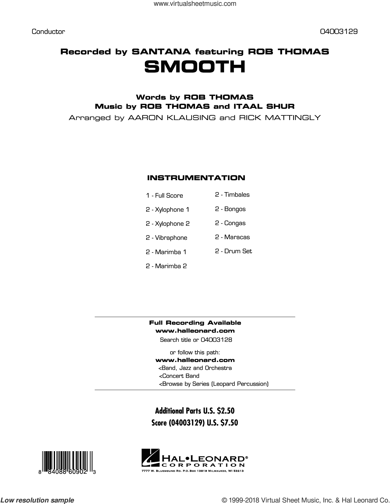 Smooth (COMPLETE) sheet music for concert band by Rob Thomas, Aaron Klausing, Diane Downs, Itaal Shur, Rick Mattingly and Santana featuring Rob Thomas, intermediate skill level