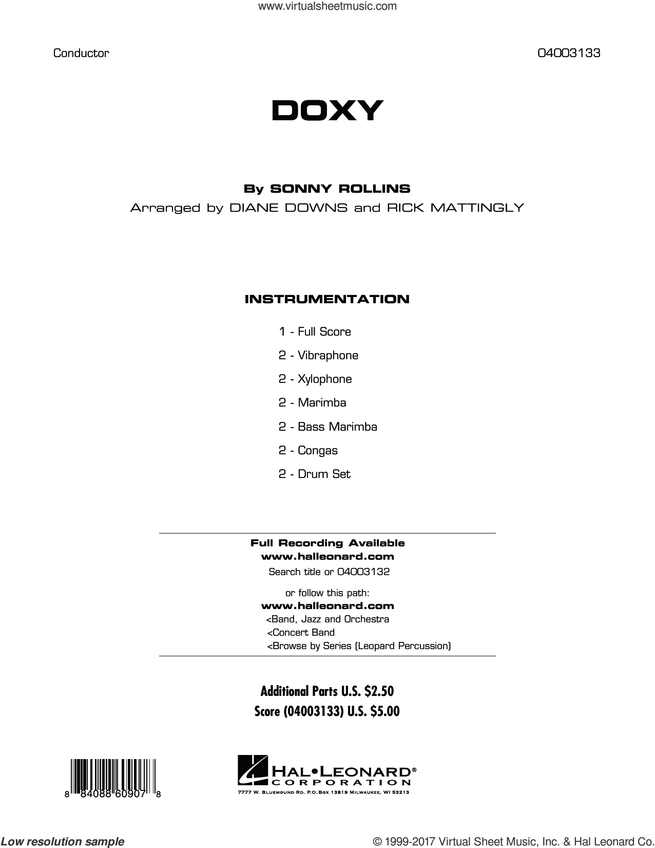 Doxy sheet music for concert band (full score) by Diane Downs, Rick Mattingly and Sonny Rollins. Score Image Preview.