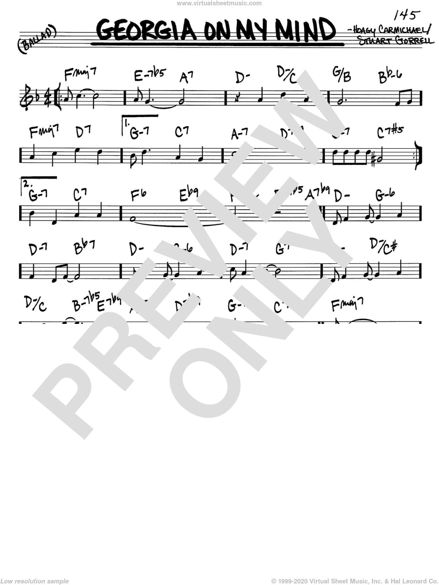 Georgia On My Mind sheet music for voice and other instruments (C) by Stuart Gorrell, Ray Charles, Willie Nelson and Hoagy Carmichael. Score Image Preview.