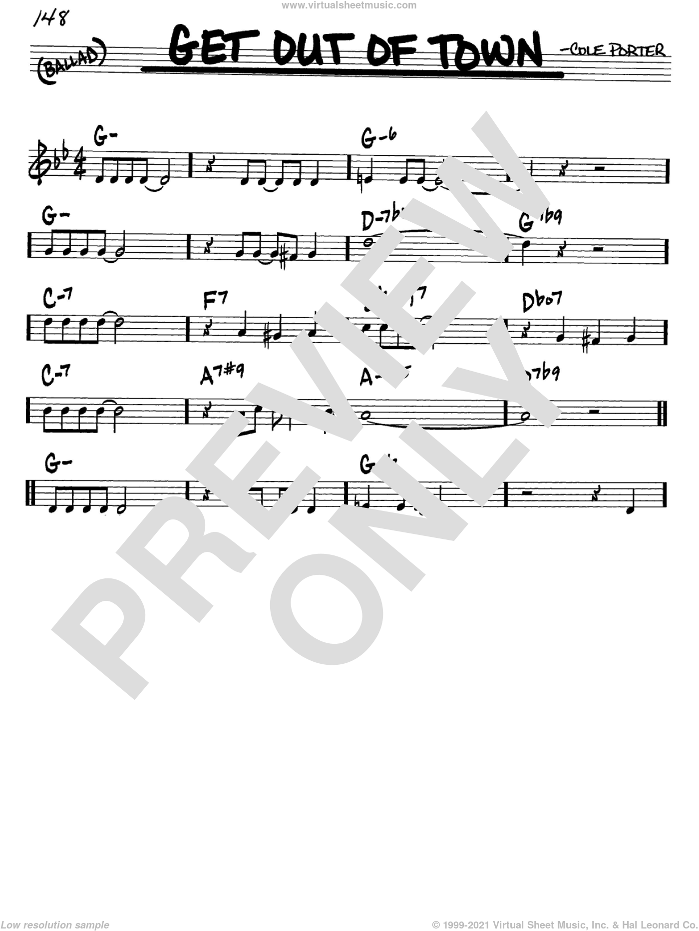 Get Out Of Town sheet music for voice and other instruments (C) by Cole Porter. Score Image Preview.