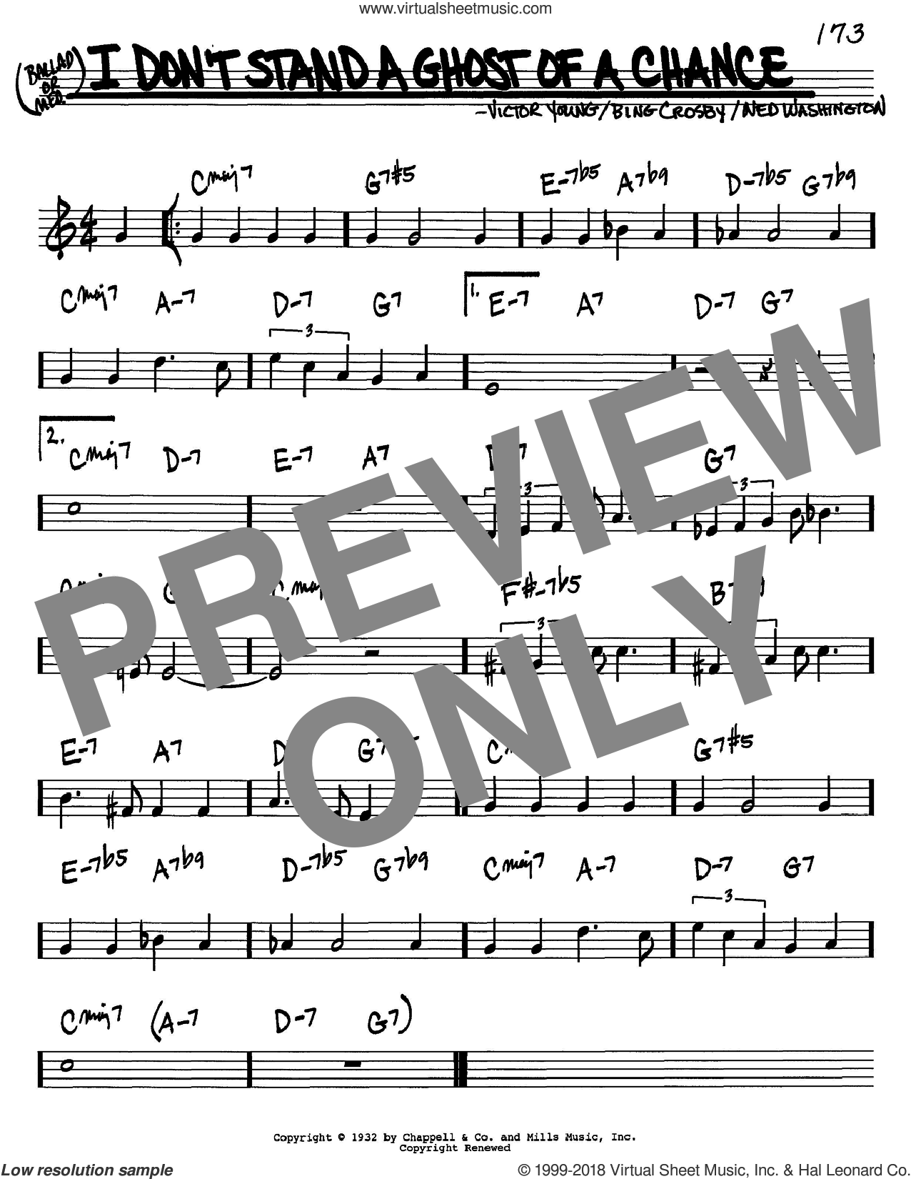 I Don't Stand A Ghost Of A Chance sheet music for voice and other instruments (in C) by Bing Crosby, Ned Washington and Victor Young, intermediate skill level