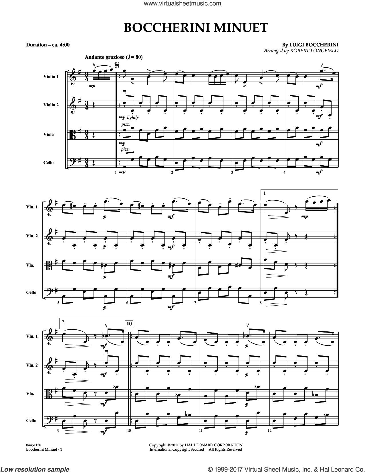 Boccherini Minuet (COMPLETE) sheet music for orchestra (Strings) by Robert Longfield and Luigi Boccherini, classical score, intermediate skill level