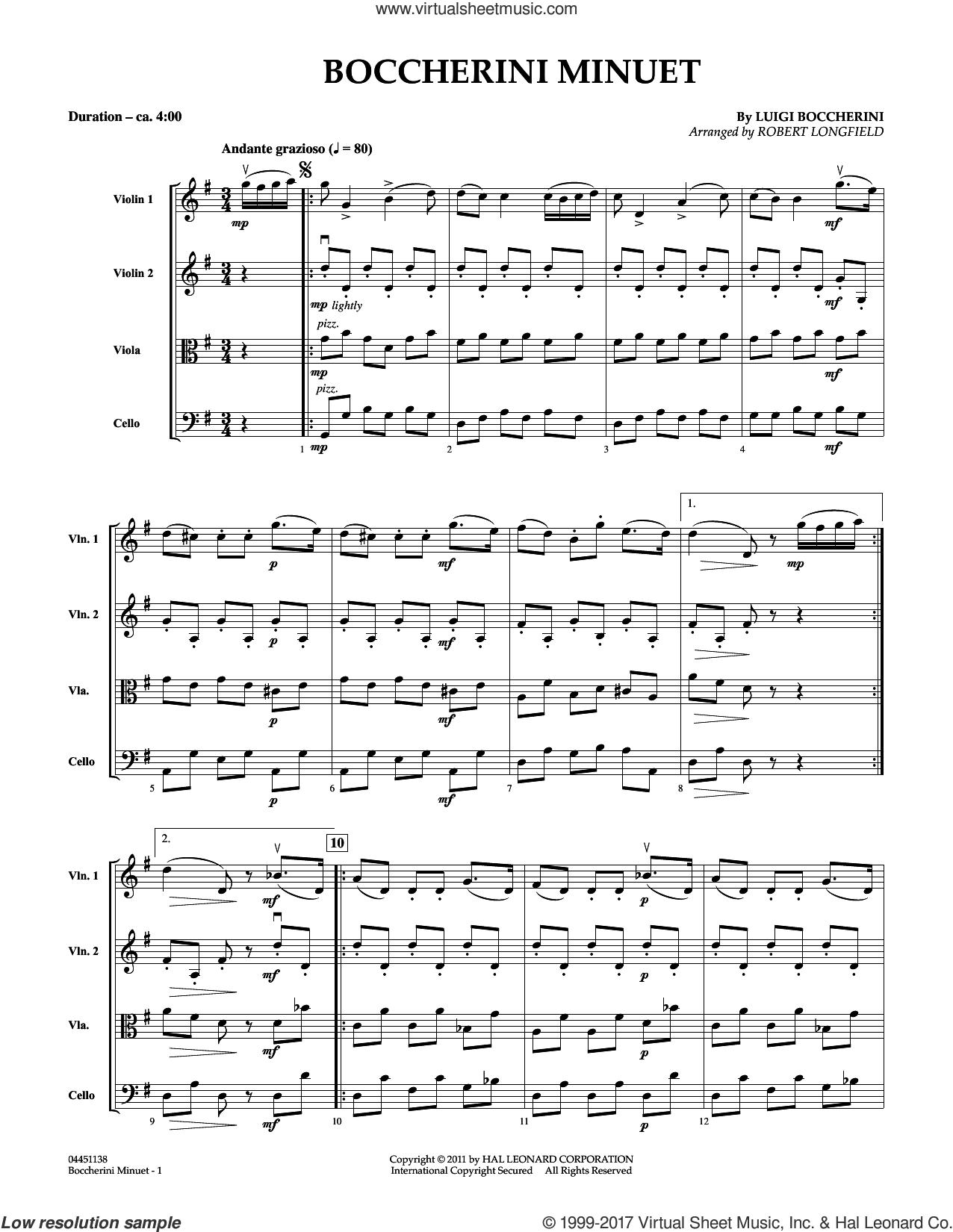 Boccherini Minuet (COMPLETE) sheet music for string quartet (Strings) by Robert Longfield and Luigi Boccherini, classical score, intermediate orchestra