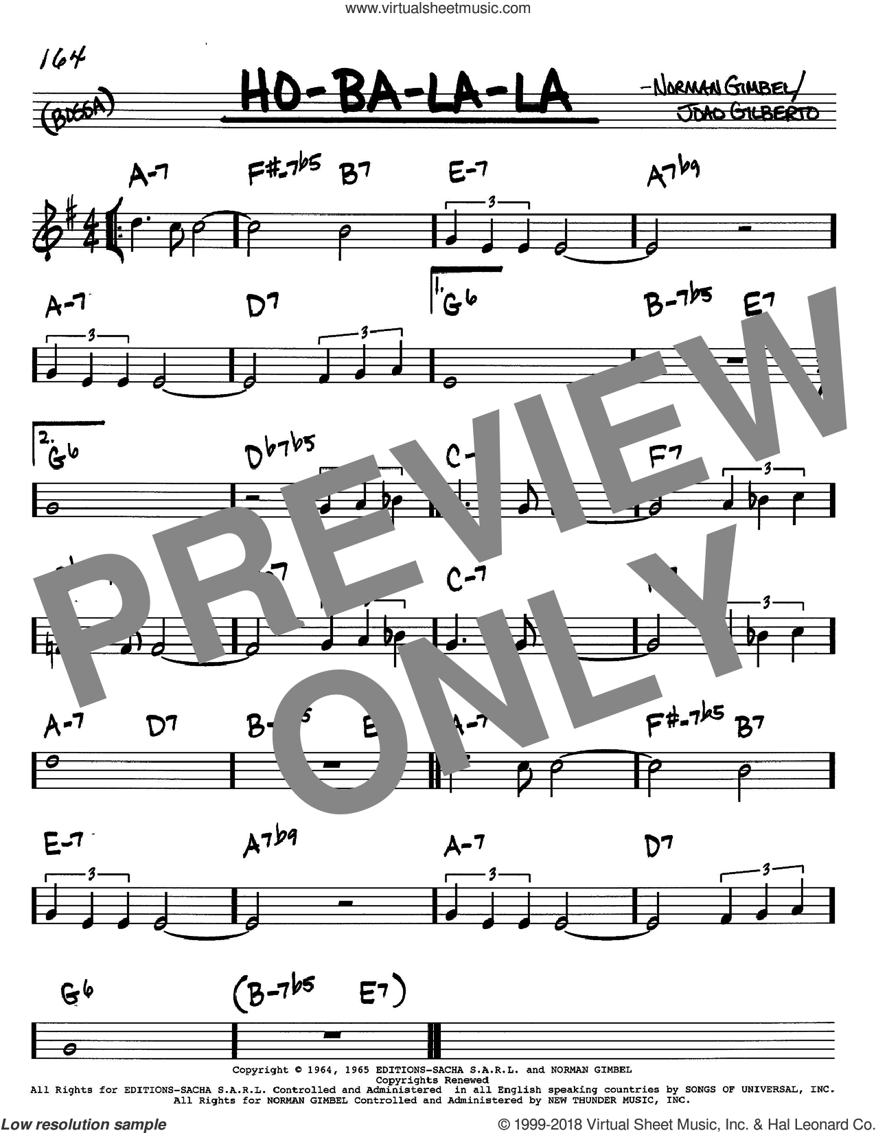 Ho-Ba-La-La sheet music for voice and other instruments (in C) by Norman Gimbel and Joao Gilberto, intermediate. Score Image Preview.