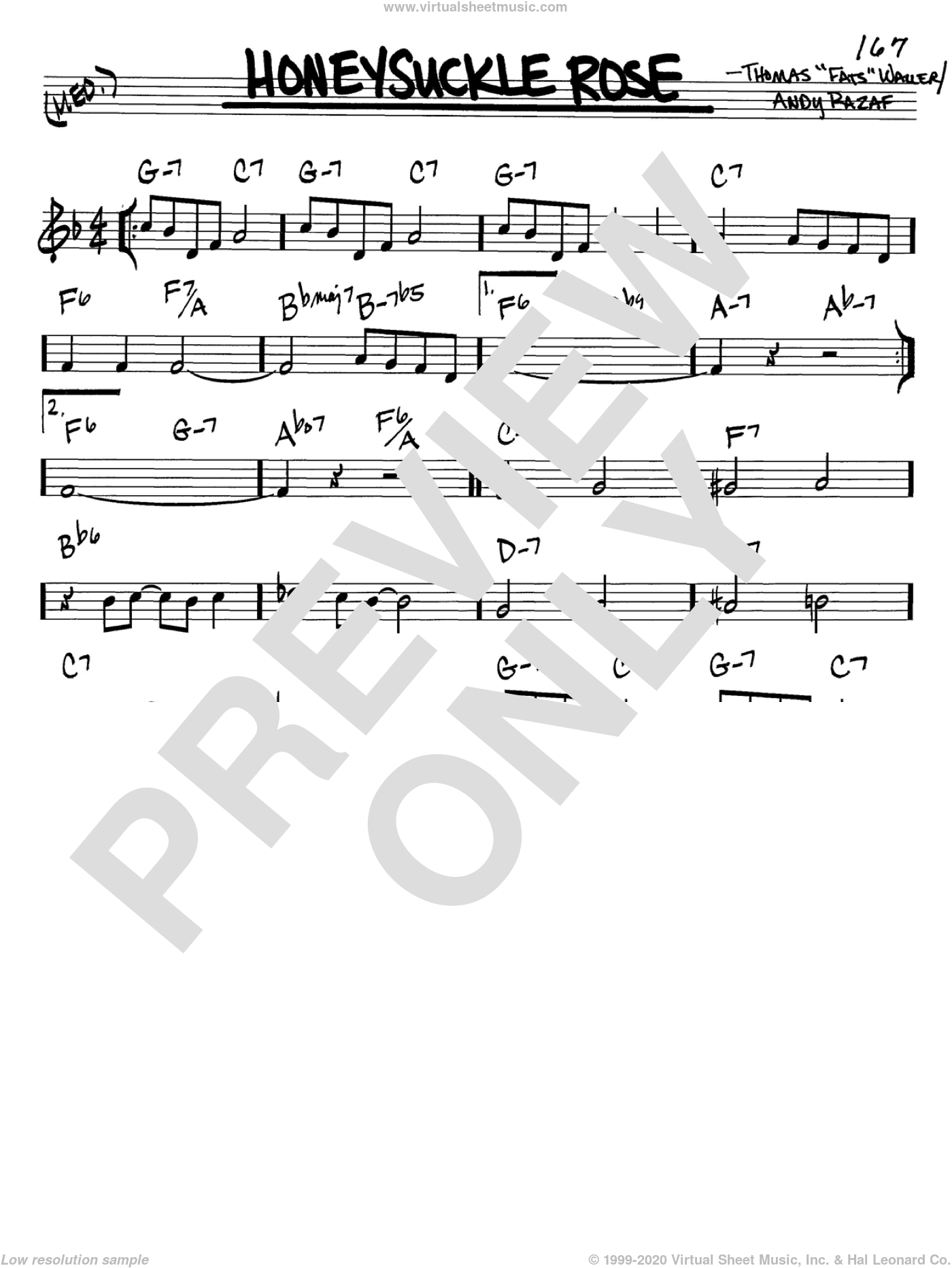 Honeysuckle Rose sheet music for voice and other instruments (C) by Thomas Waller, Django Reinhardt and Andy Razaf. Score Image Preview.