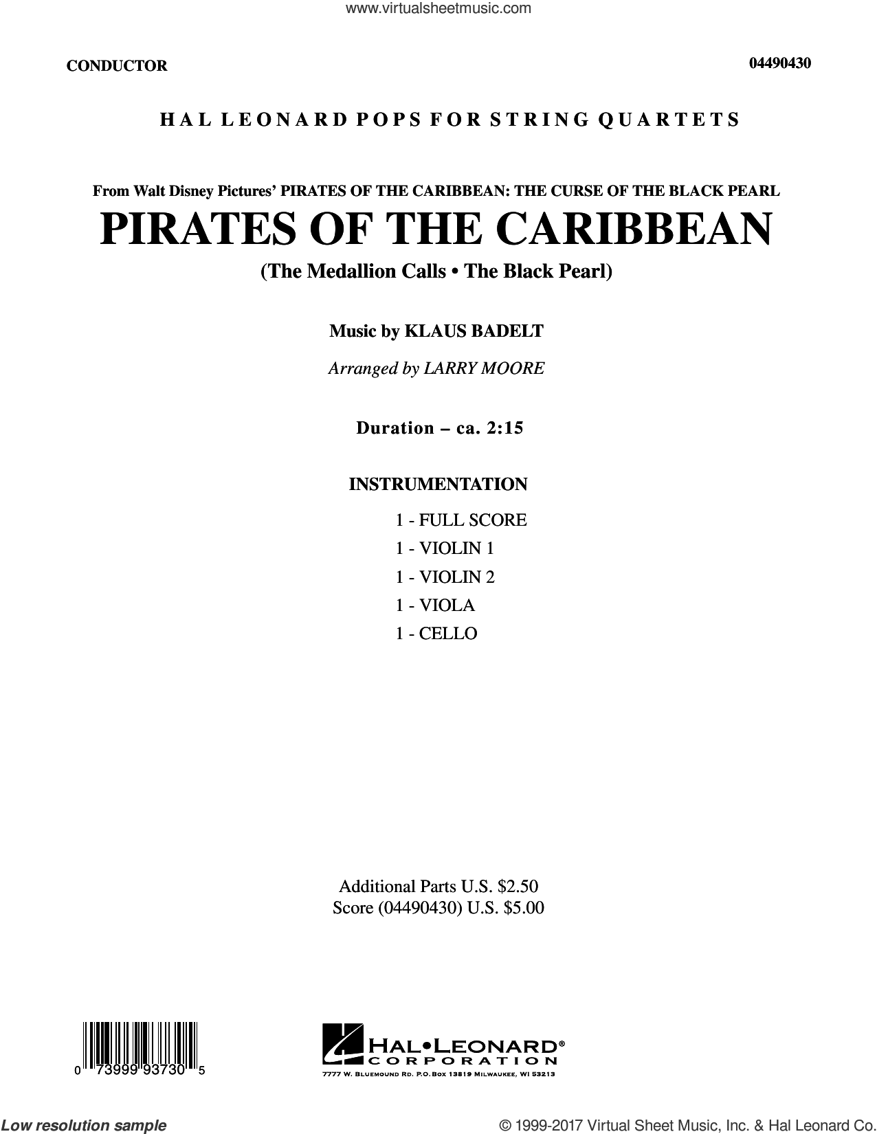 Pirates of the Caribbean (COMPLETE) sheet music for string quartet (Strings) by Larry Moore and Klaus Badelt, intermediate orchestra