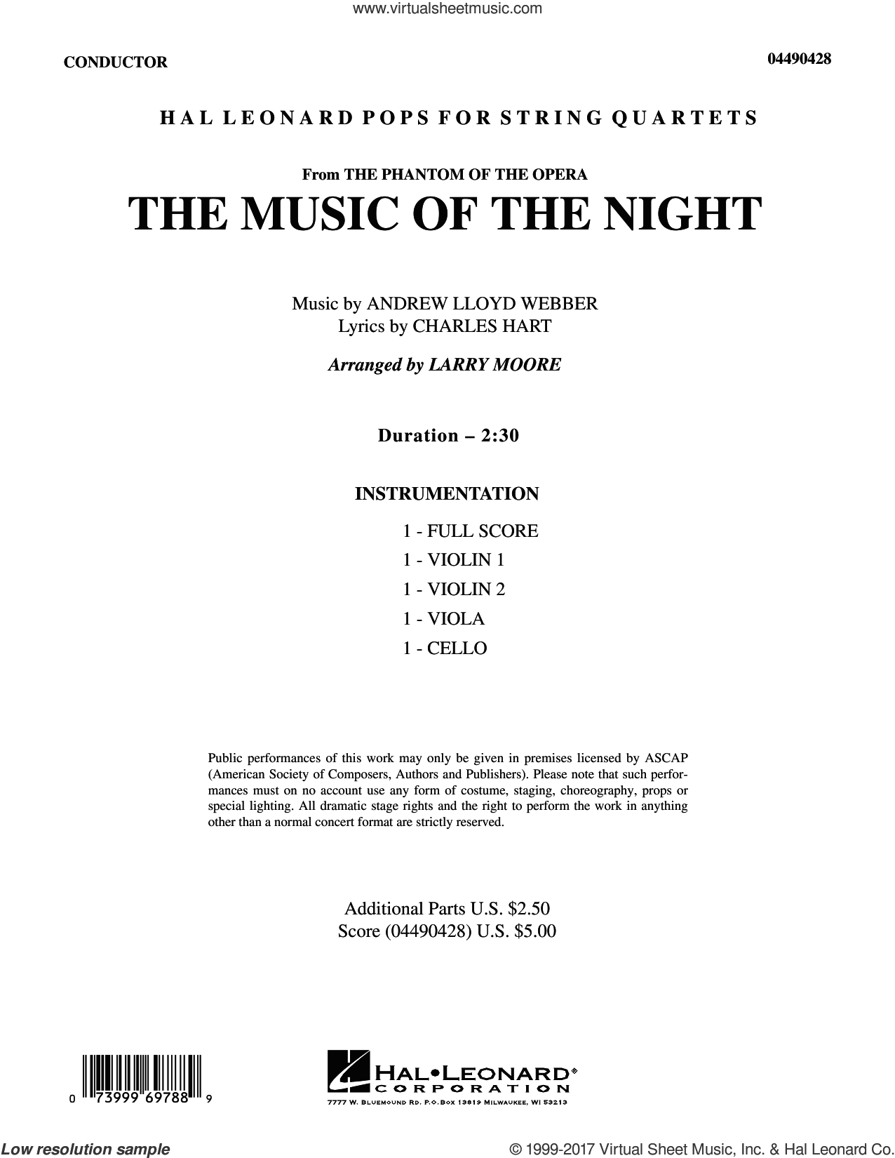 The Music of the Night (from The Phantom of the Opera) (COMPLETE) sheet music for string quartet (Strings) by Andrew Lloyd Webber, Charles Hart, David Cook, Larry Moore and Richard Stilgoe, intermediate orchestra