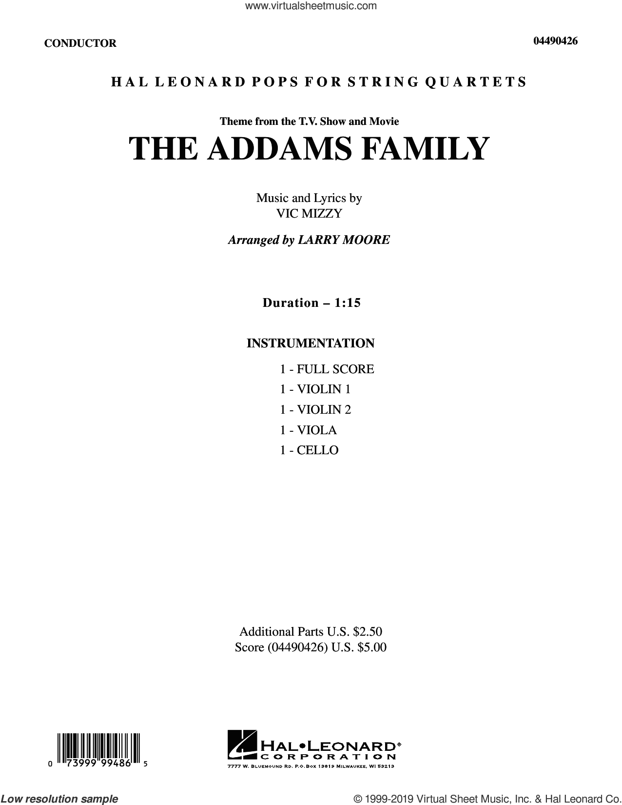 The Addams Family (Theme) (COMPLETE) sheet music for string quartet (Strings) by Larry Moore and Vic Mizzy, intermediate orchestra