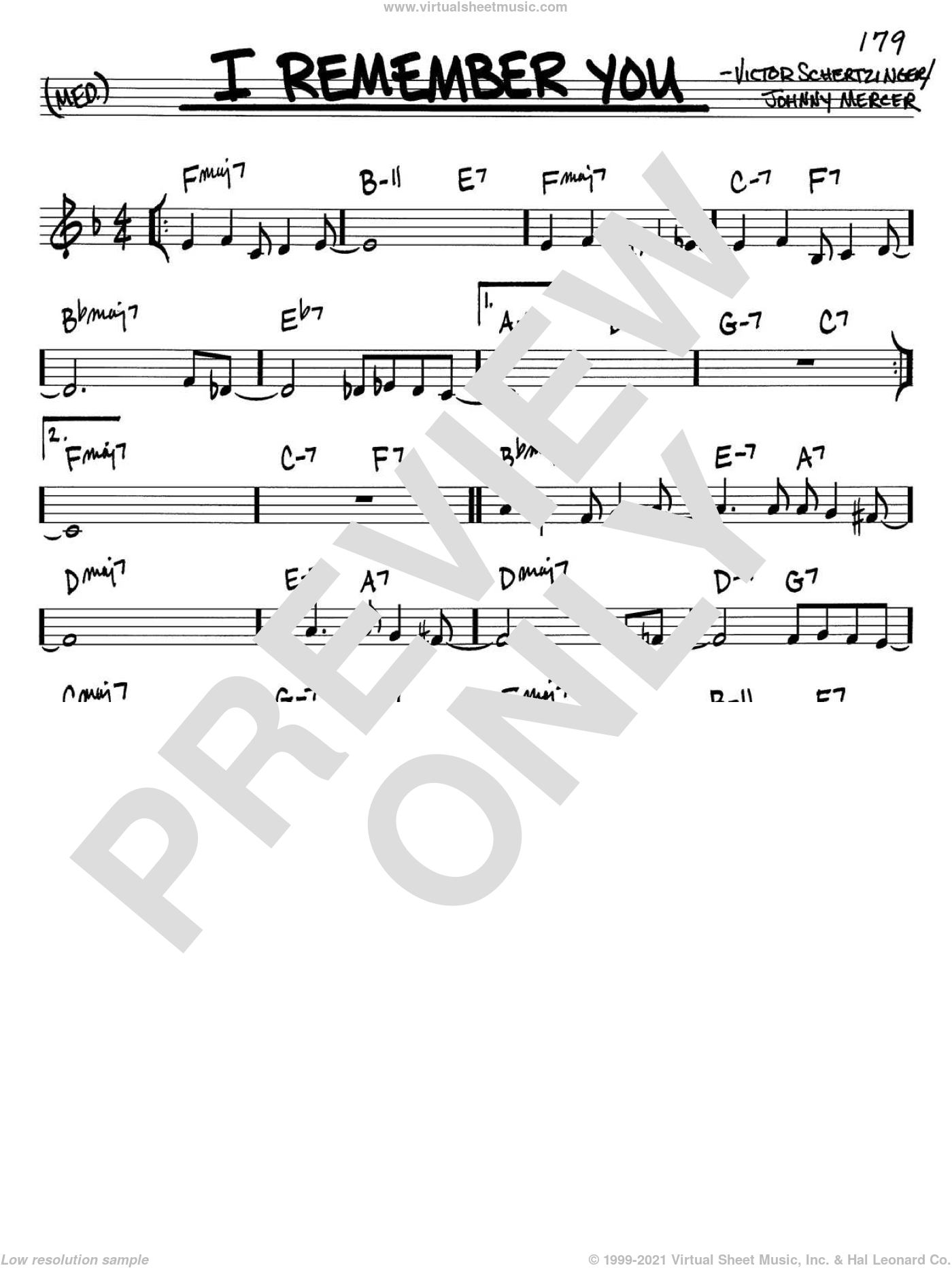 I Remember You sheet music for voice and other instruments (C) by Victor Schertzinger