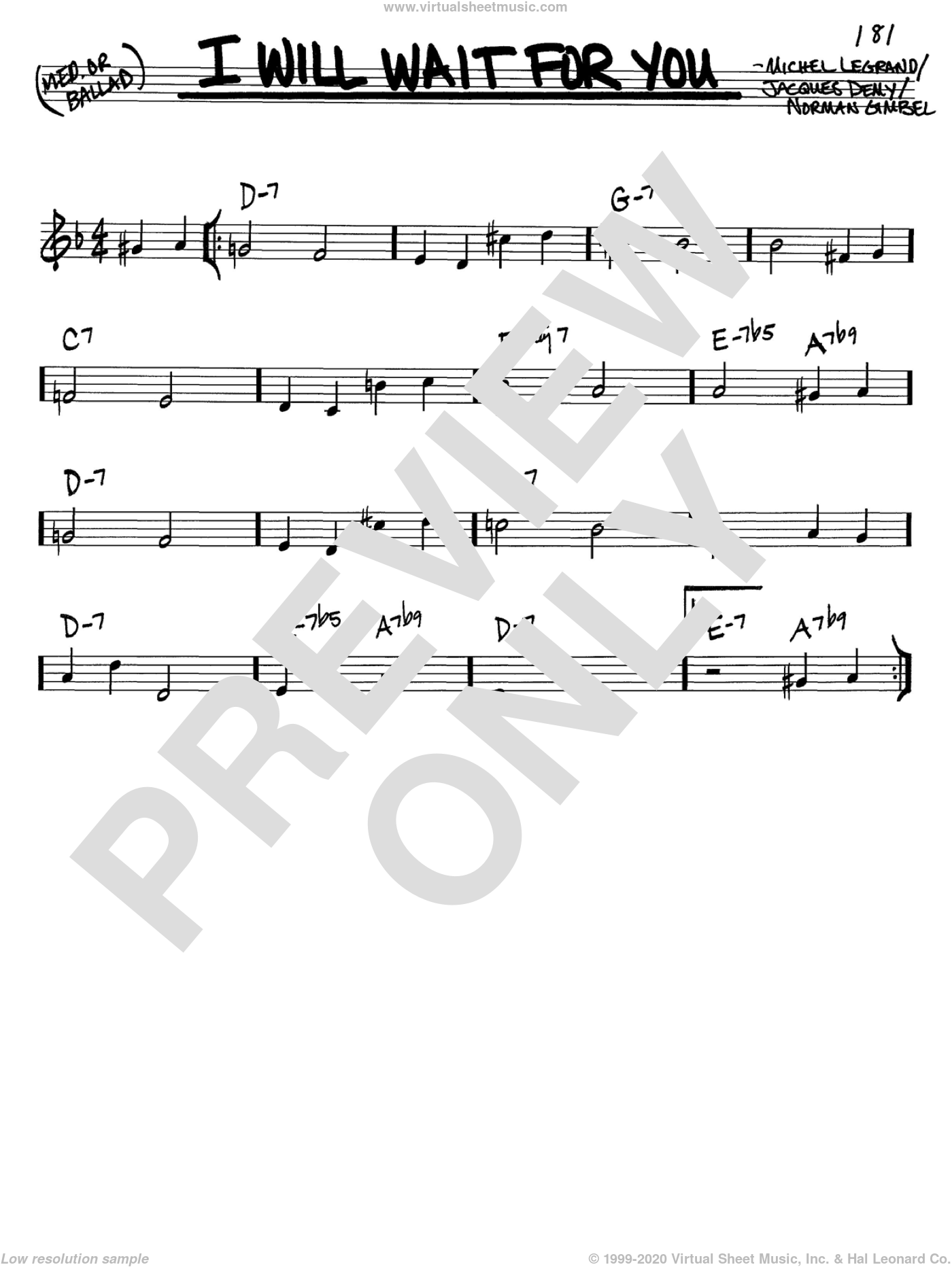 I Will Wait For You sheet music for voice and other instruments (in C) by Michel LeGrand, Jacques Demy and Norman Gimbel, intermediate skill level