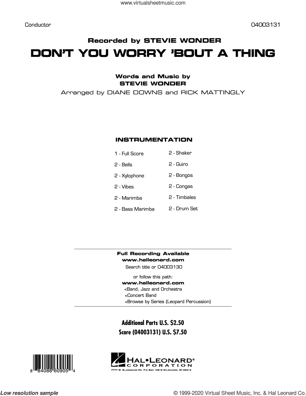 Don't You Worry 'Bout a Thing (COMPLETE) sheet music for concert band by Stevie Wonder, Diane Downs and Rick Mattingly, intermediate skill level