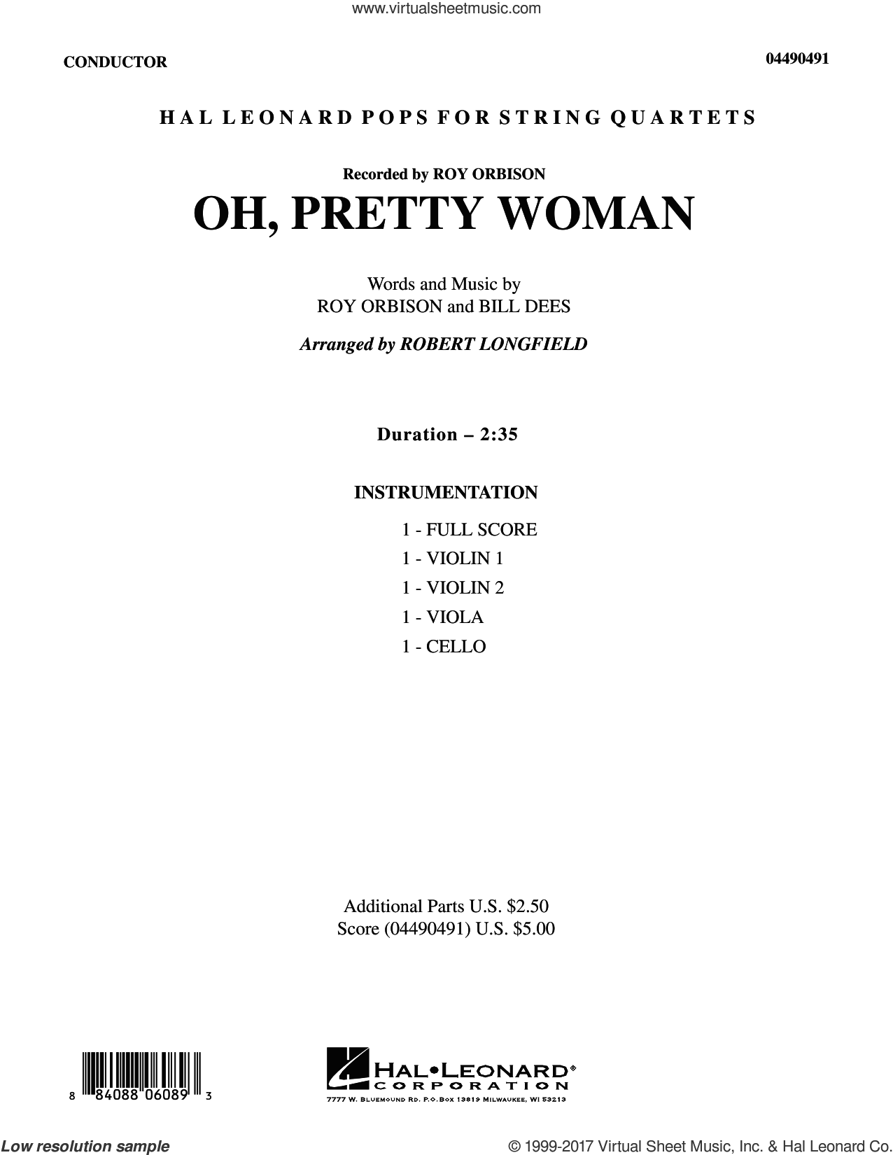 Oh, Pretty Woman (COMPLETE) sheet music for orchestra (Strings) by Robert Longfield, Bill Dees, Edward Van Halen and Roy Orbison, intermediate skill level