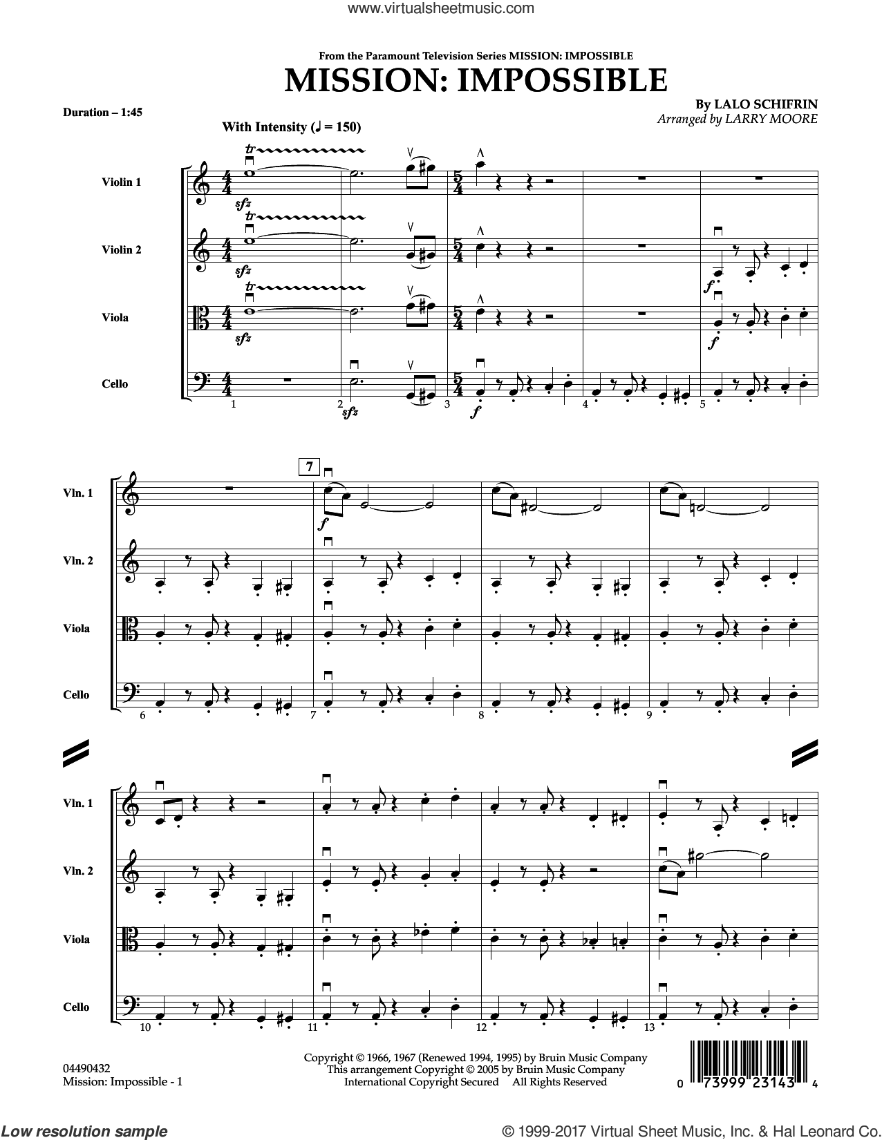 Mission: Impossible Theme (COMPLETE) sheet music for string quartet (Strings) by Larry Moore, Adam Clayton and Larry Mullen and Lalo Schifrin, intermediate orchestra