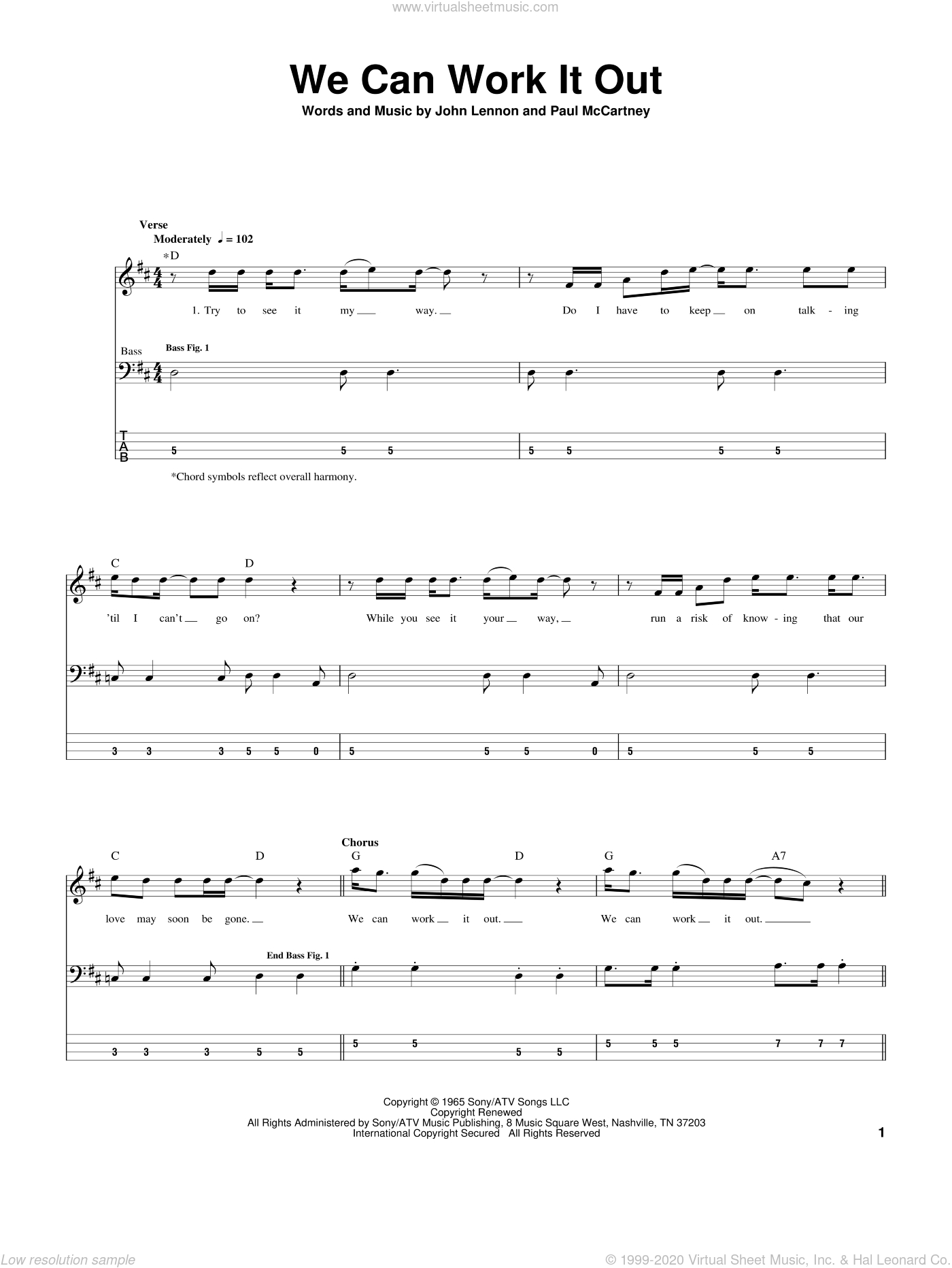 We Can Work It Out sheet music for bass (tablature) (bass guitar) by The Beatles, John Lennon and Paul McCartney, intermediate. Score Image Preview.