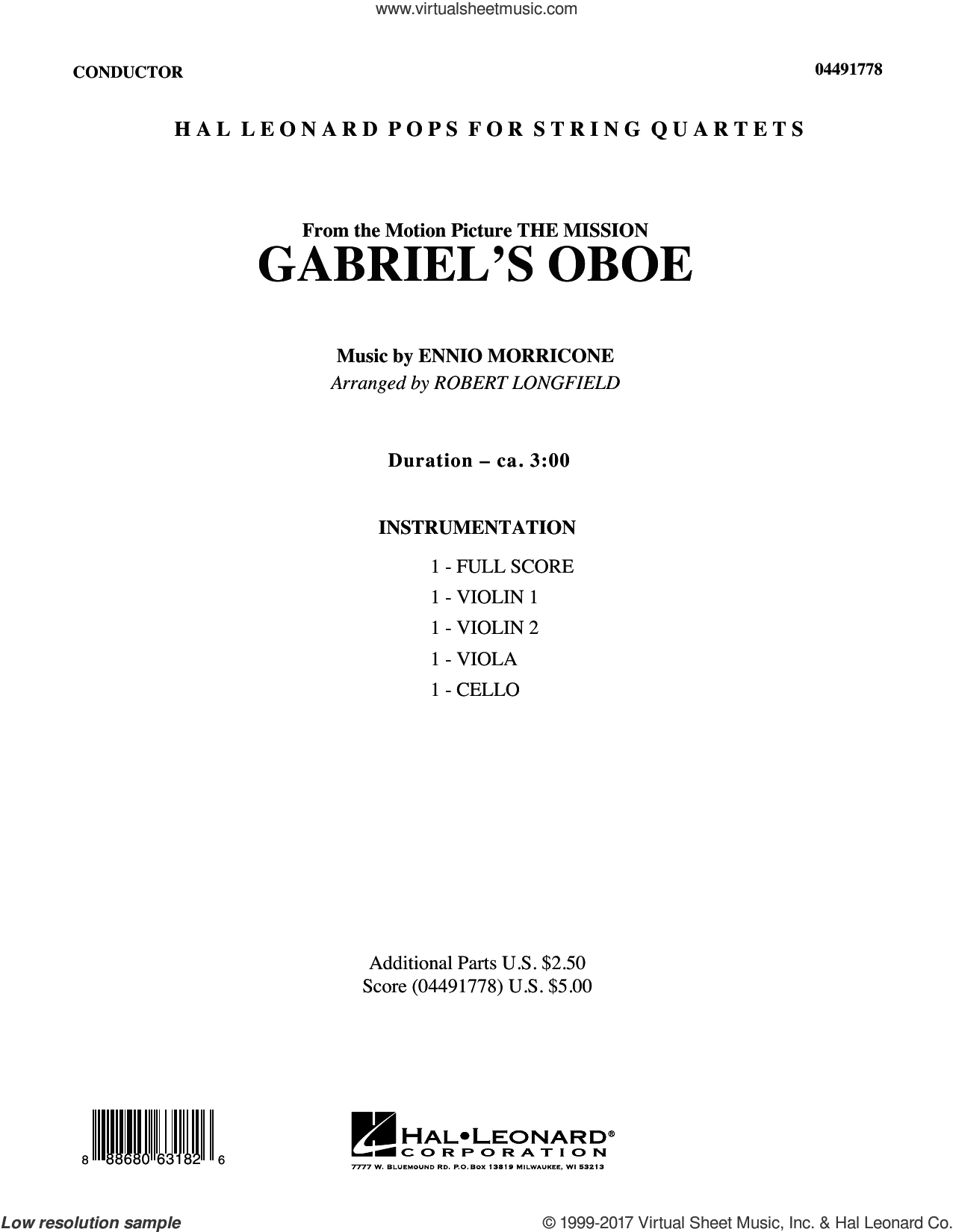 Gabriel's Oboe (COMPLETE) sheet music for orchestra by Robert Longfield and Ennio Morricone, intermediate orchestra. Score Image Preview.